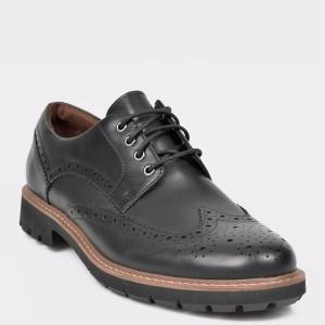 Pantofi CLARKS negri, Batcombe Wing, din piele naturala