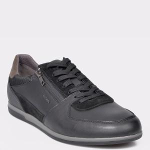 Pantofi sport GEOX negri, U944GB, din piele ecologica si piele naturala