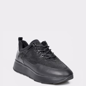 Pantofi sport GEOX negri, D925TB, din piele ecologica si piele naturala