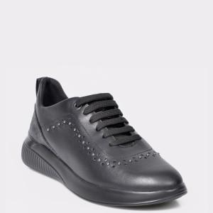 Pantofi sport GEOX negri, D948SC, din piele ecologica si piele naturala