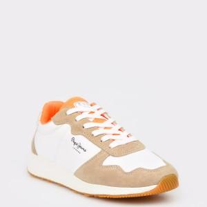 Pantofi sport PEPE JEANS albi, Ls30843, din material textil
