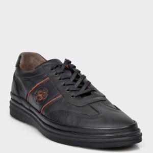 Pantofi OTTER negri, M5419, din piele naturala