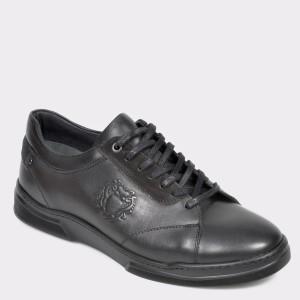 Pantofi Otter Negri, Harbino, Din Piele Naturala