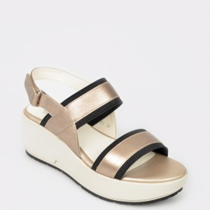 Sandale STONEFLY aurii, Ketty10, din piele naturala
