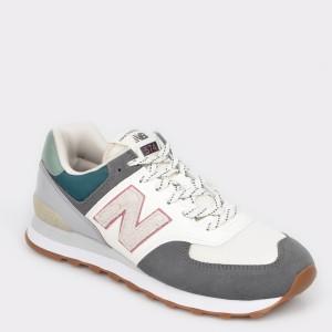 Pantofi sport NEW BALANCE albi, ML574, din piele intoarsa