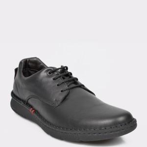 Pantofi OTTER negri, 7728, din piele naturala