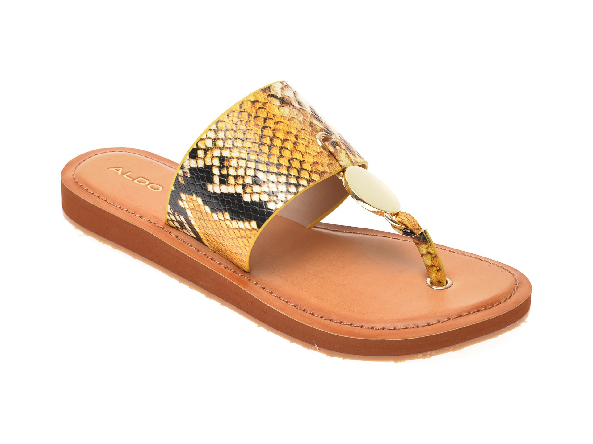 Papuci ALDO galbeni, Yilania750, din piele ecologica