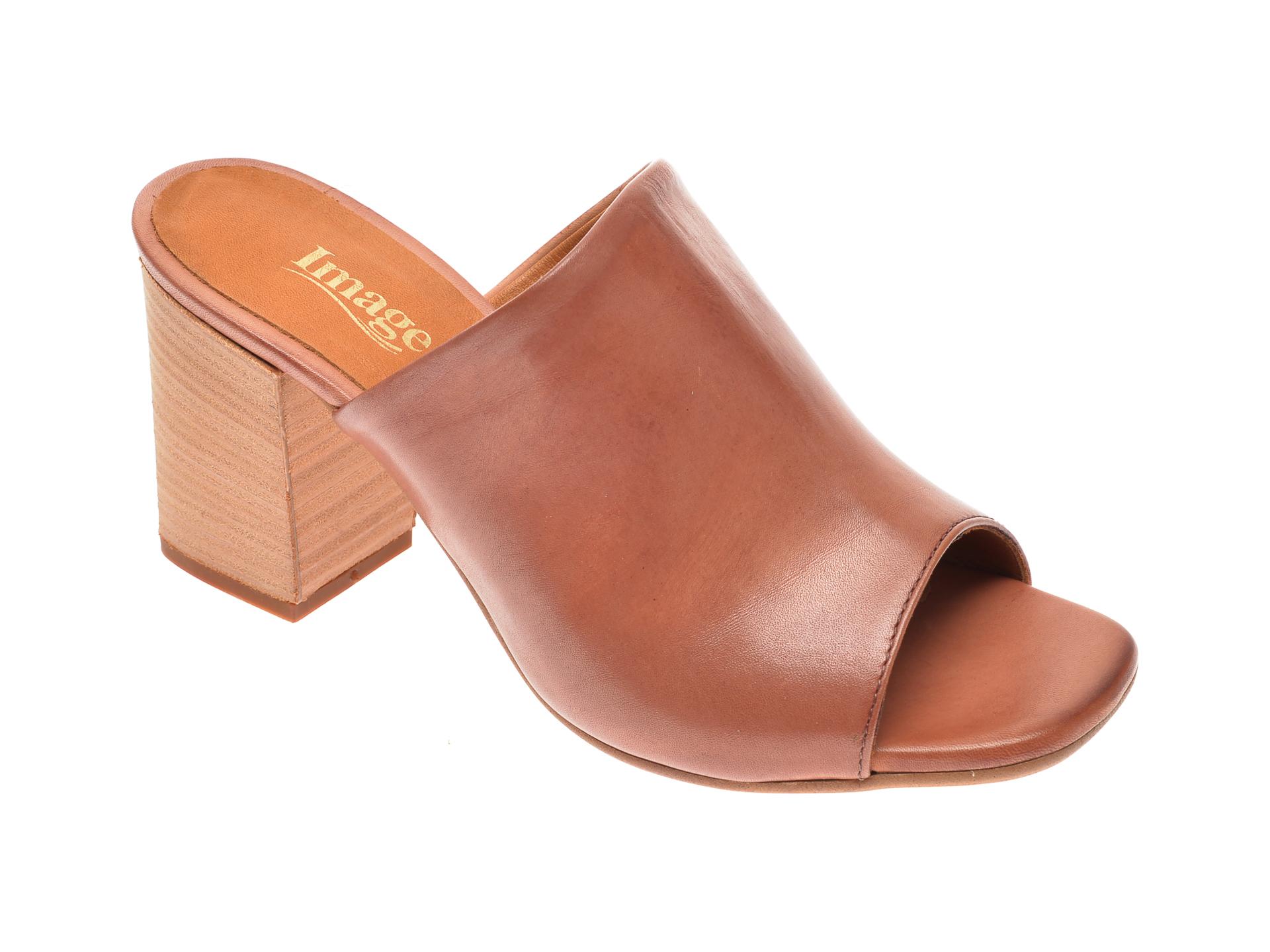 Papuci IMAGE negri, 4018, din piele naturala