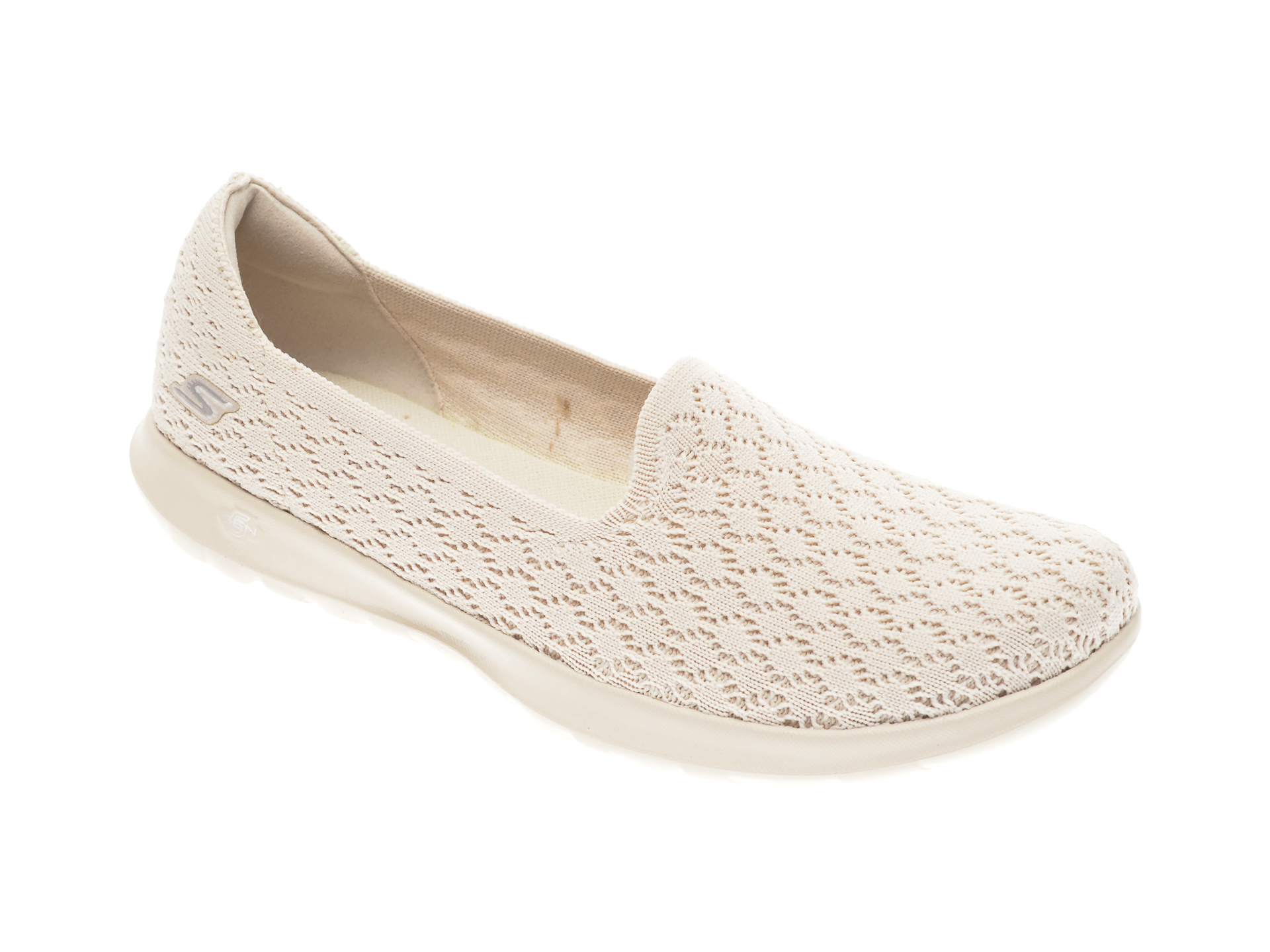 Balerini Skechers Bej, Go Walk Lite Daisy, Din Material Textil