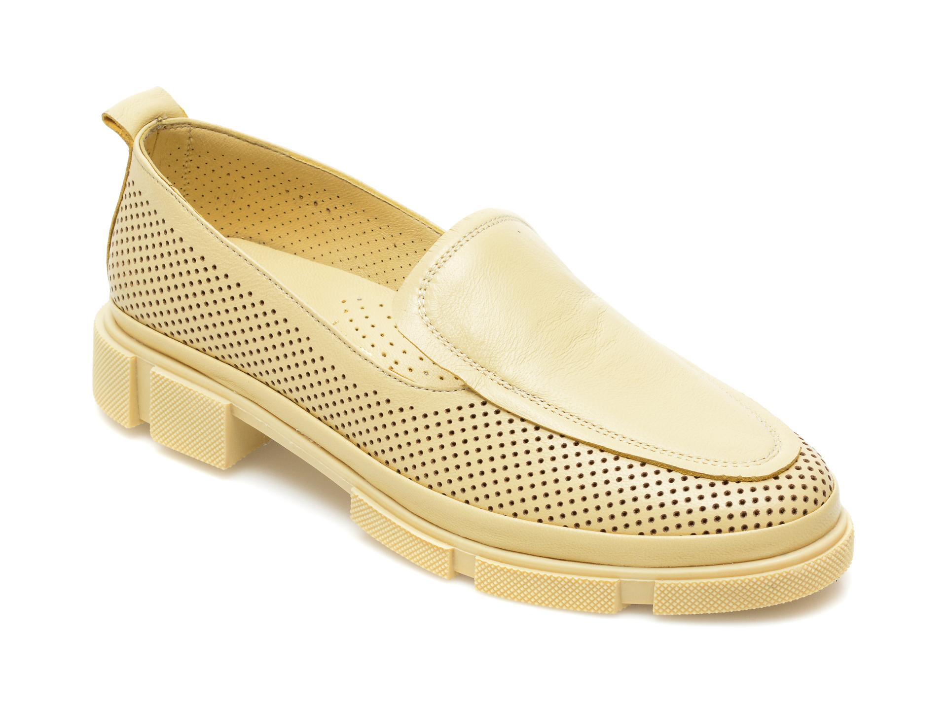 Pantofi MOLLY BESSA galbeni, MN104, din piele naturala