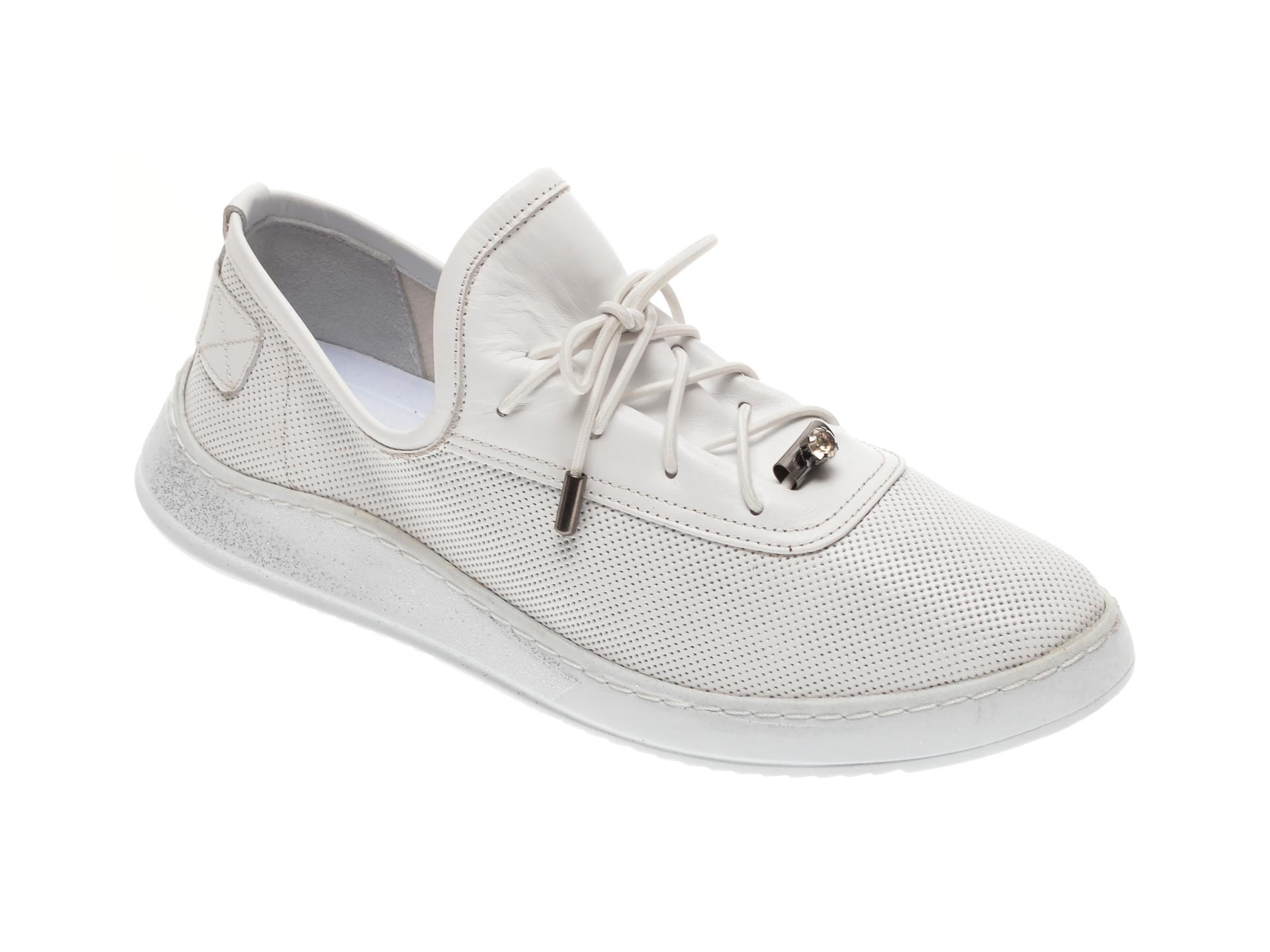 Pantofi BABOOS albi, 0908, din piele naturala imagine