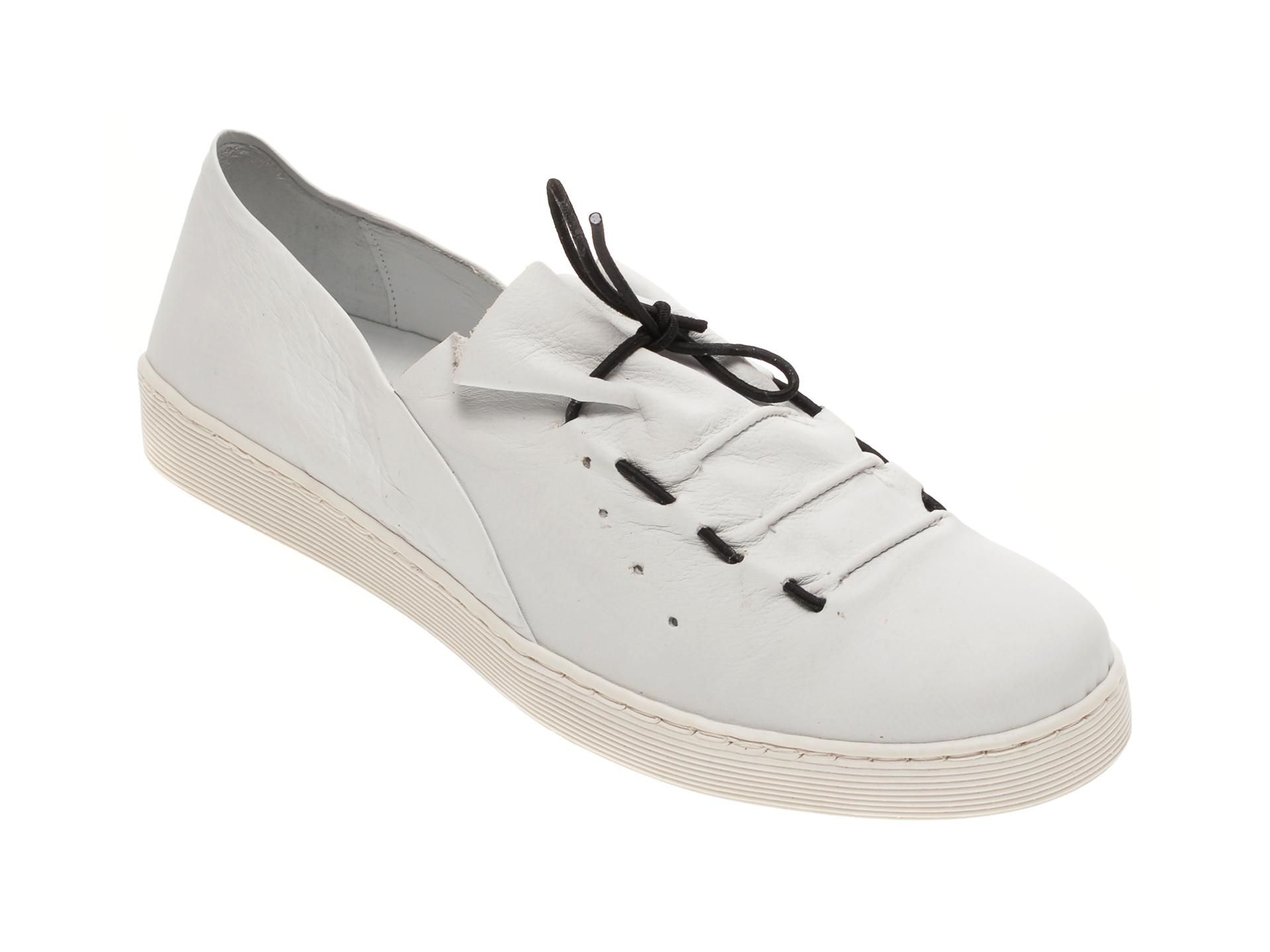 Pantofi BABOOS albi, R09, din piele naturala imagine