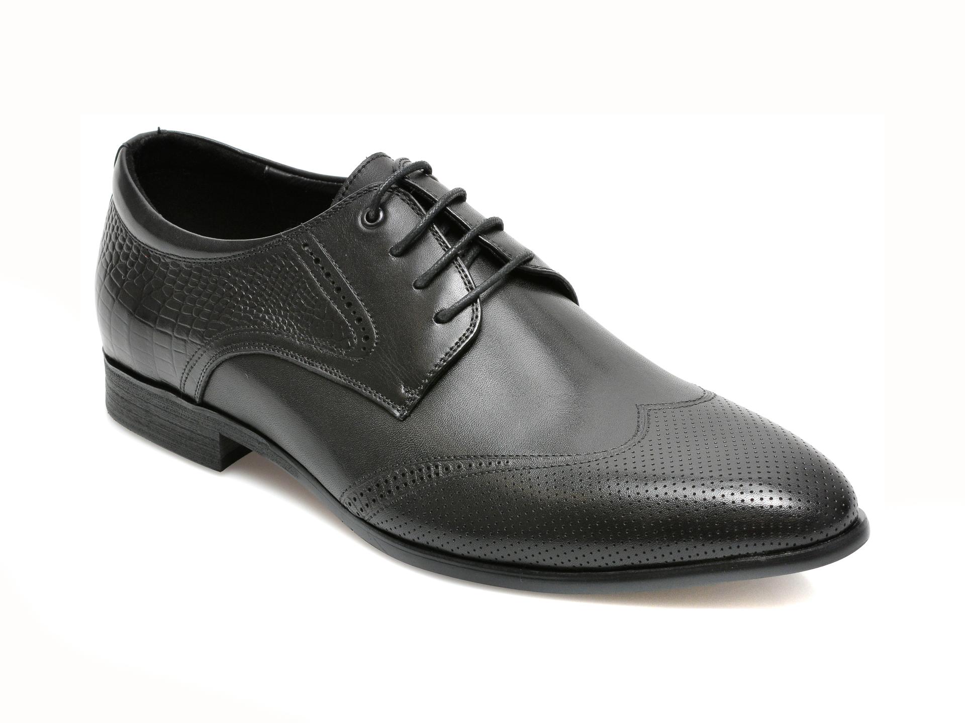 Pantofi CARIBU negri, F019716, din piele naturala