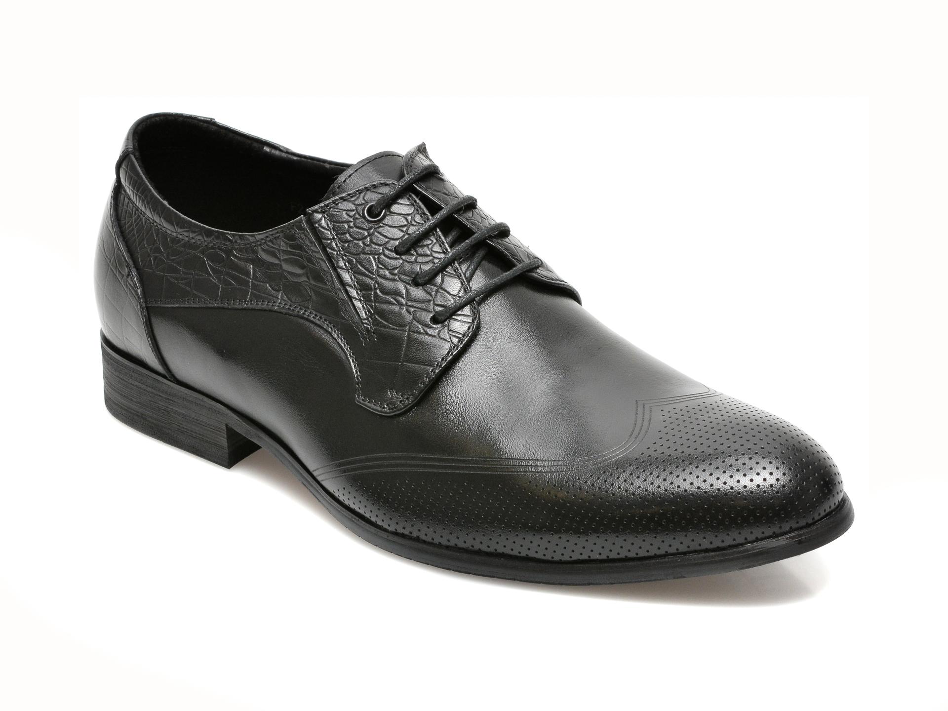 Pantofi CARIBU negri, F244070, din piele naturala