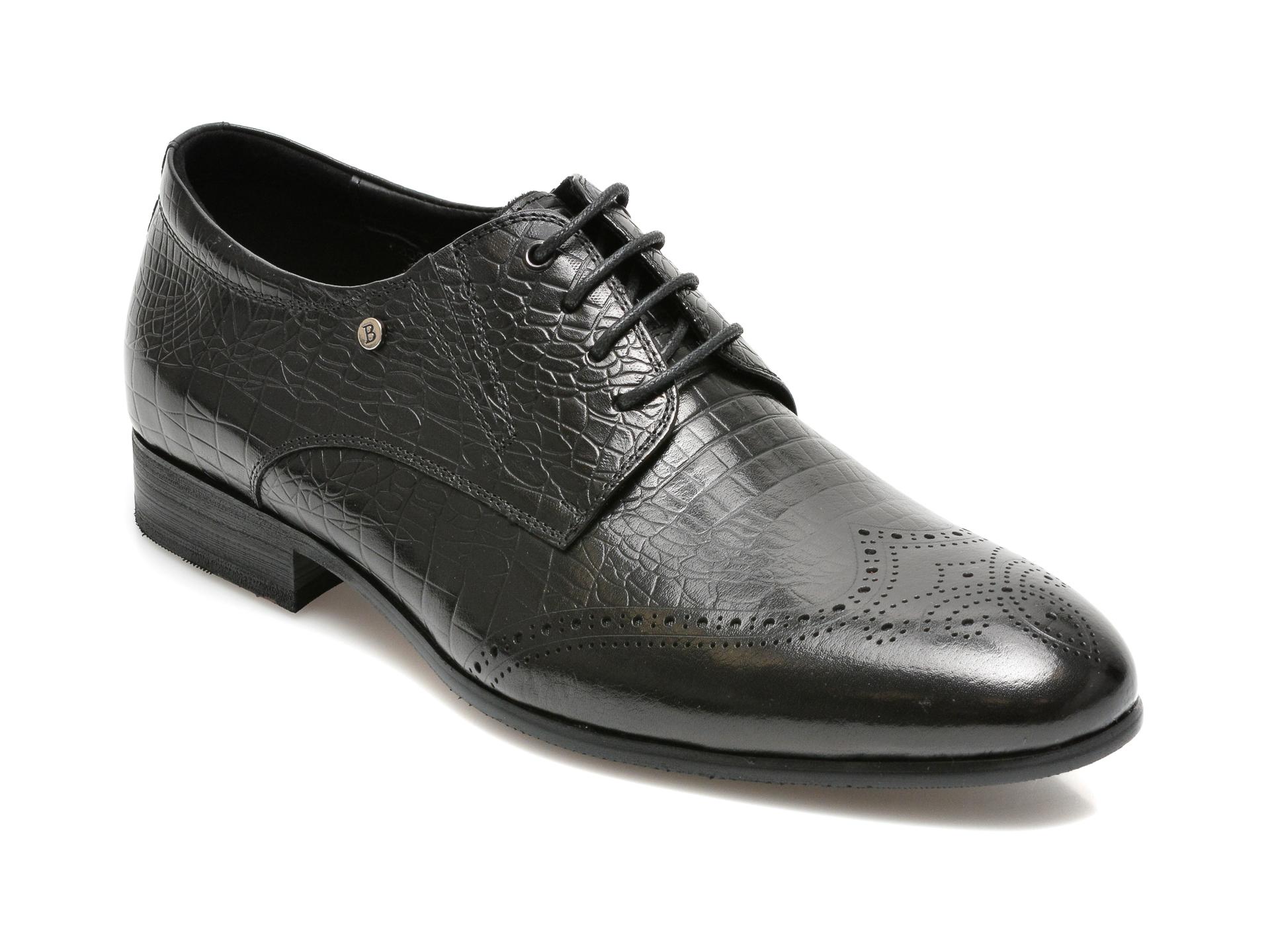 Pantofi CARIBU negri, F335613, din piele naturala