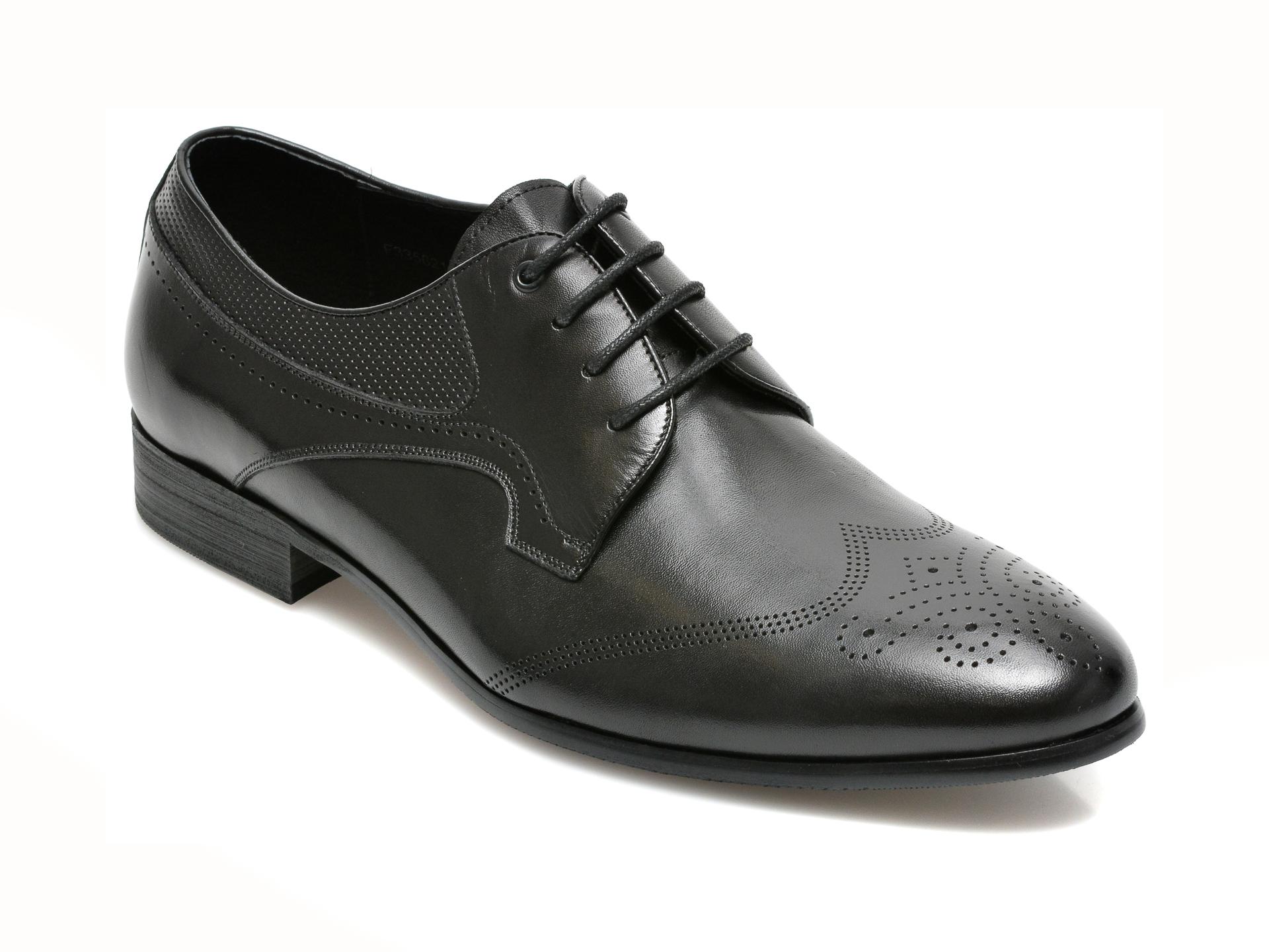 Pantofi CARIBU negri, F335621, din piele naturala