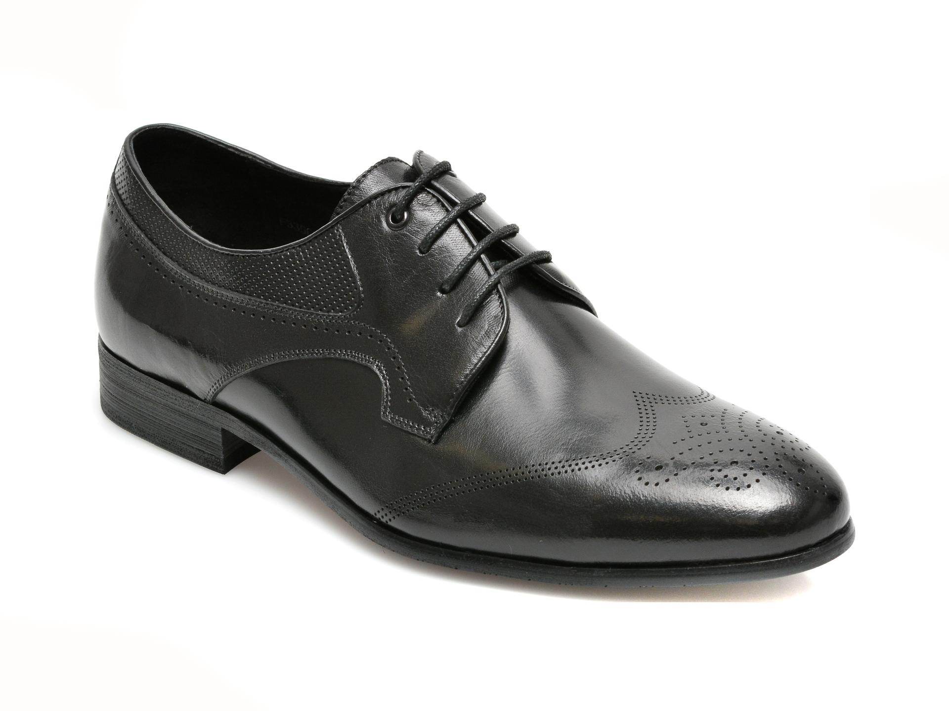 Pantofi CARIBU negri, F335655, din piele naturala