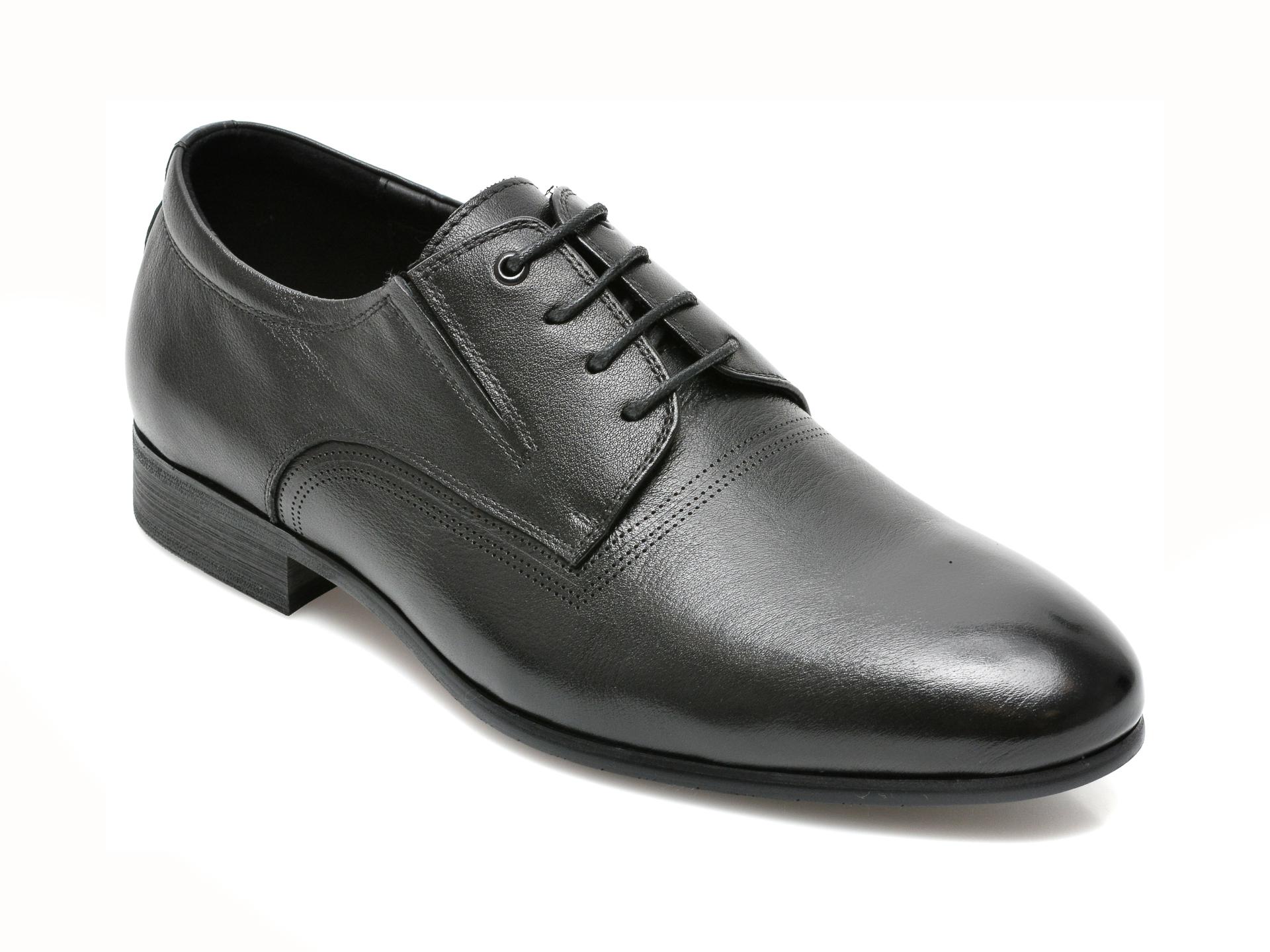 Pantofi CARIBU negri, F335692, din piele naturala