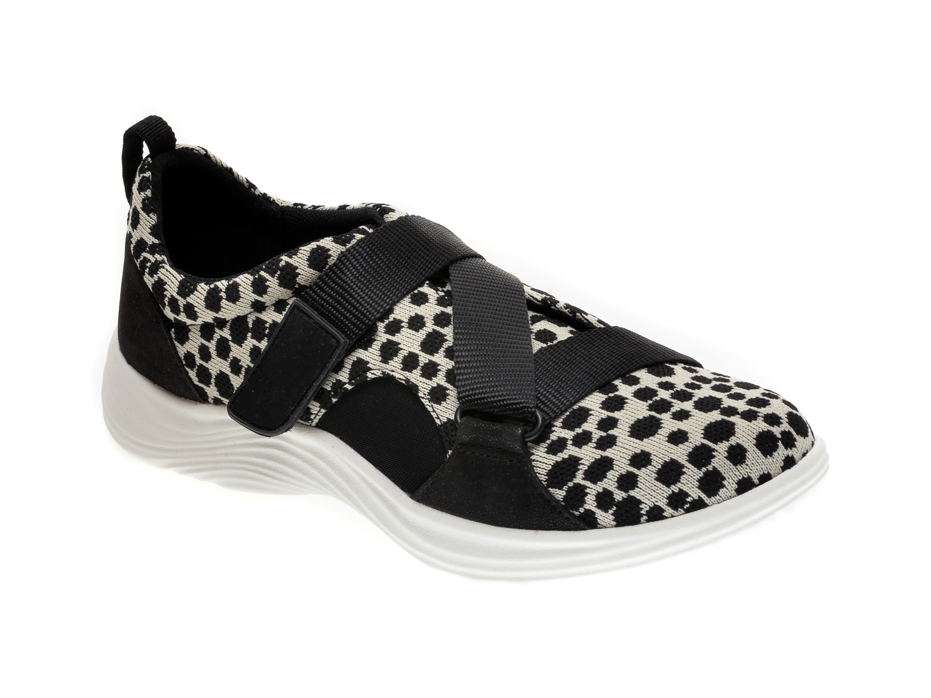 Pantofi Clarks Alb-negru, Lulu Go, Din Material Textil