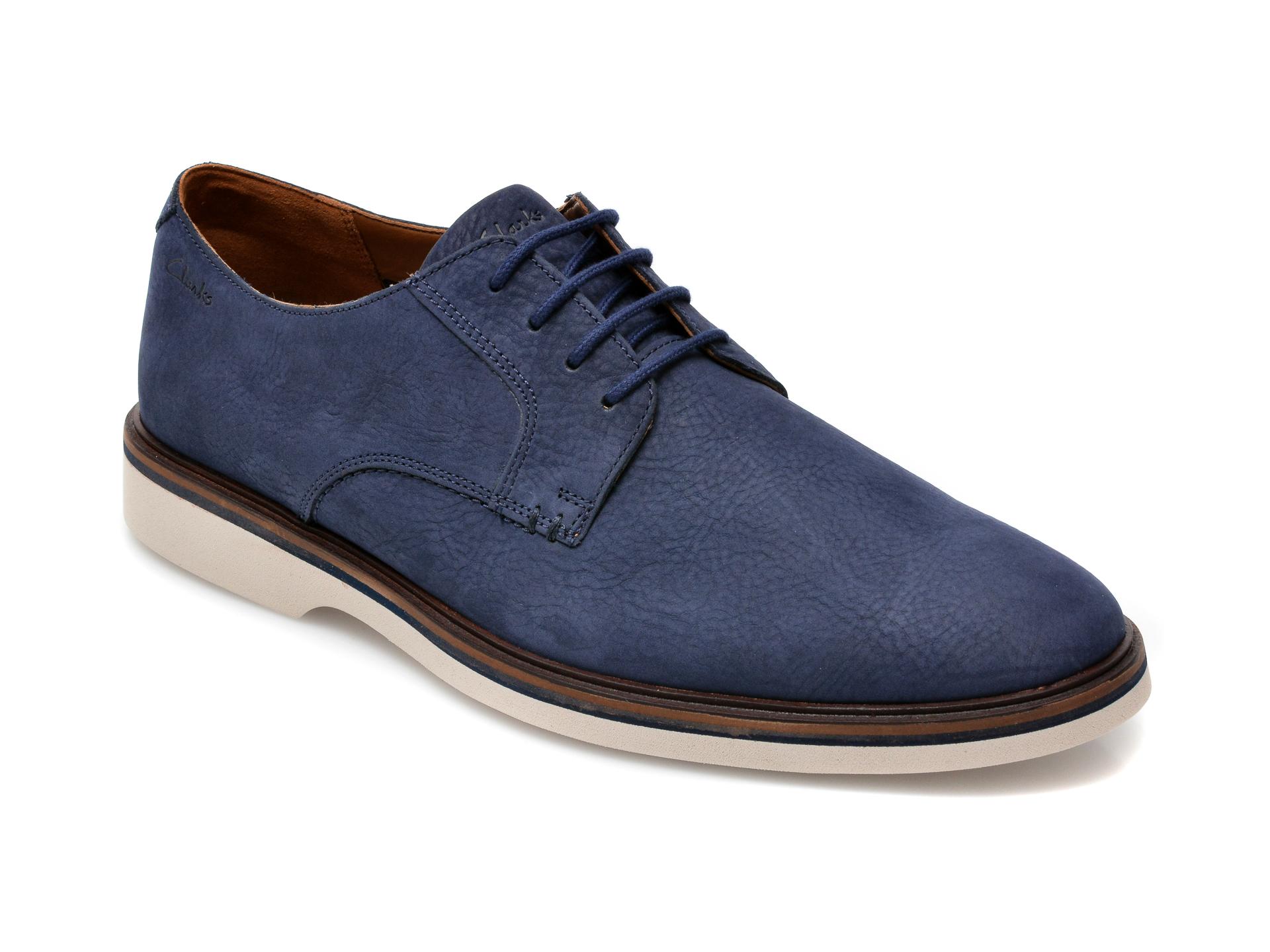 Pantofi CLARKS bleumarin, Stafford Park5, din nabuc