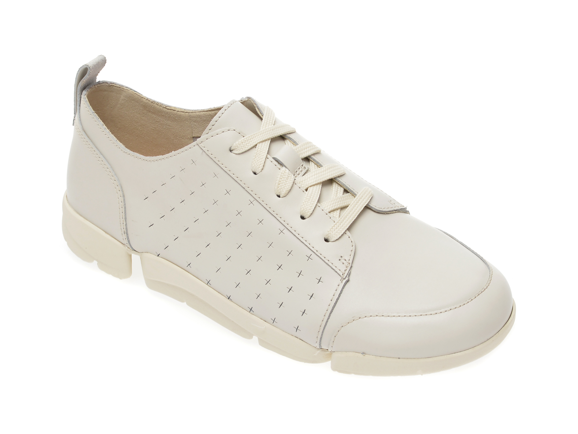 Pantofi CLARKS albi, Un Rio Tie, din piele naturala