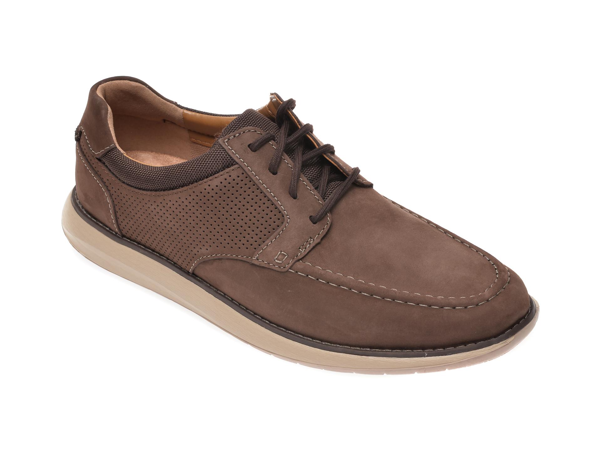 Pantofi CLARKS maro, Un Pilot Tie, din nabuc