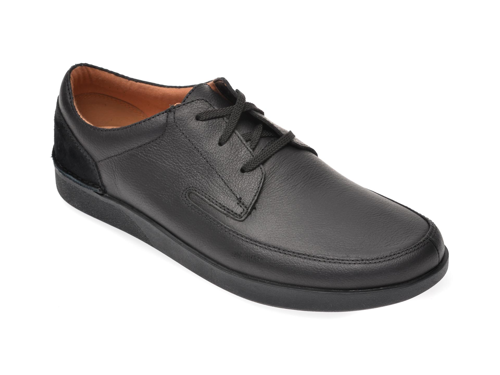Pantofi Clarks Negri, Oakland Craft, Din Piele Naturala