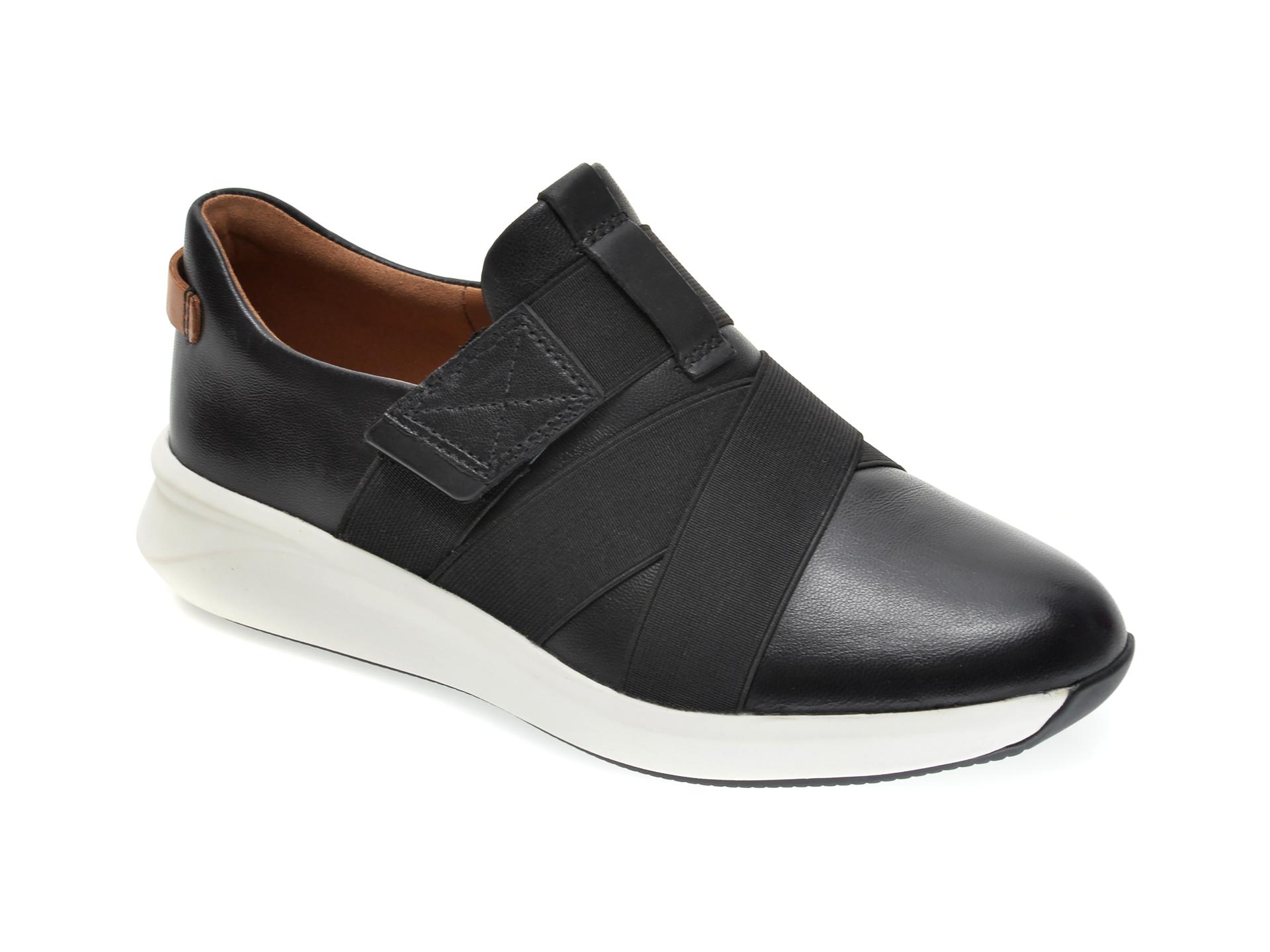 Pantofi CLARKS negri, UN RIO STRAP, din material textil si piele naturala