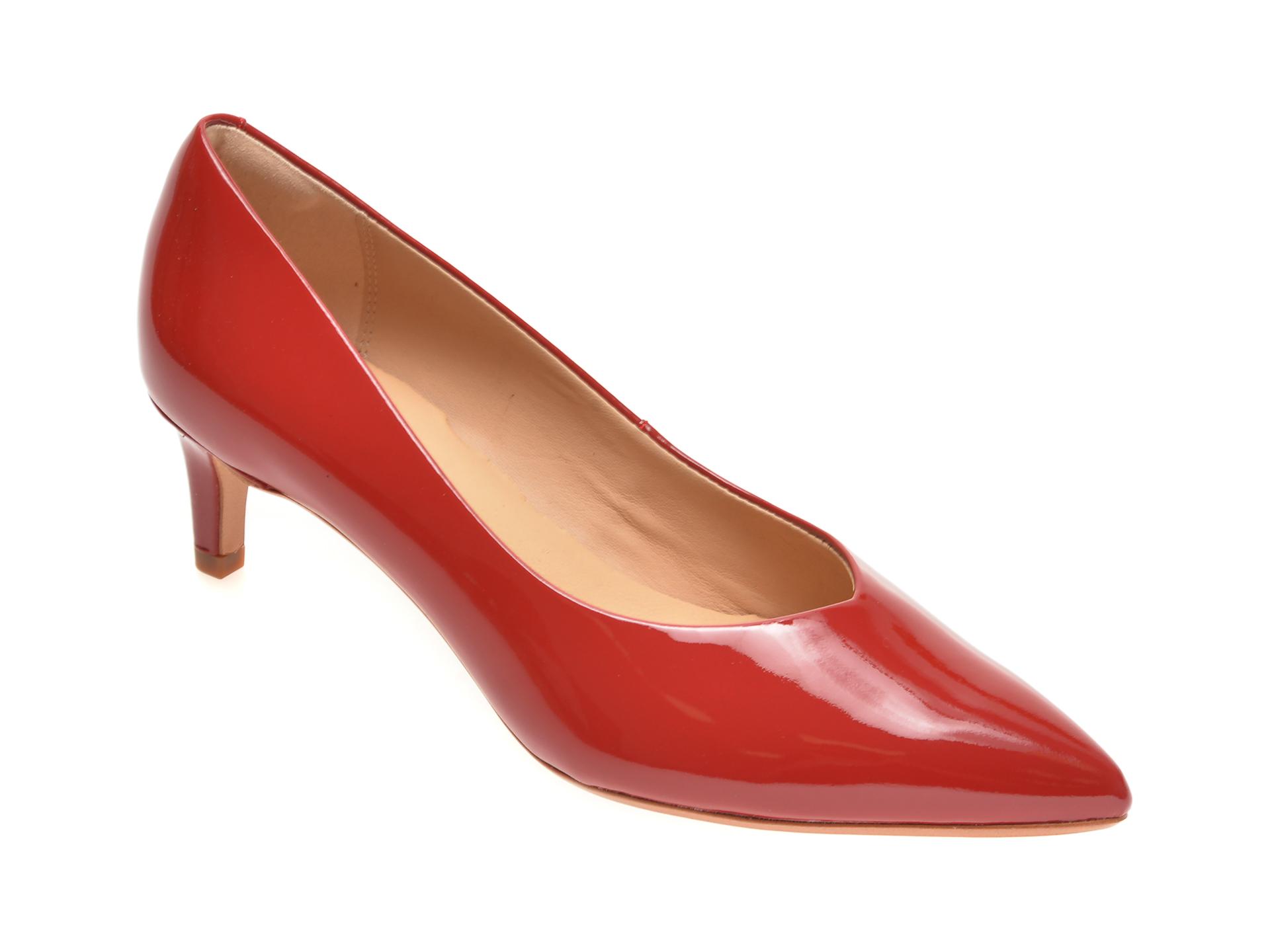Pantofi CLARKS rosii, LAI55C2, din piele naturala