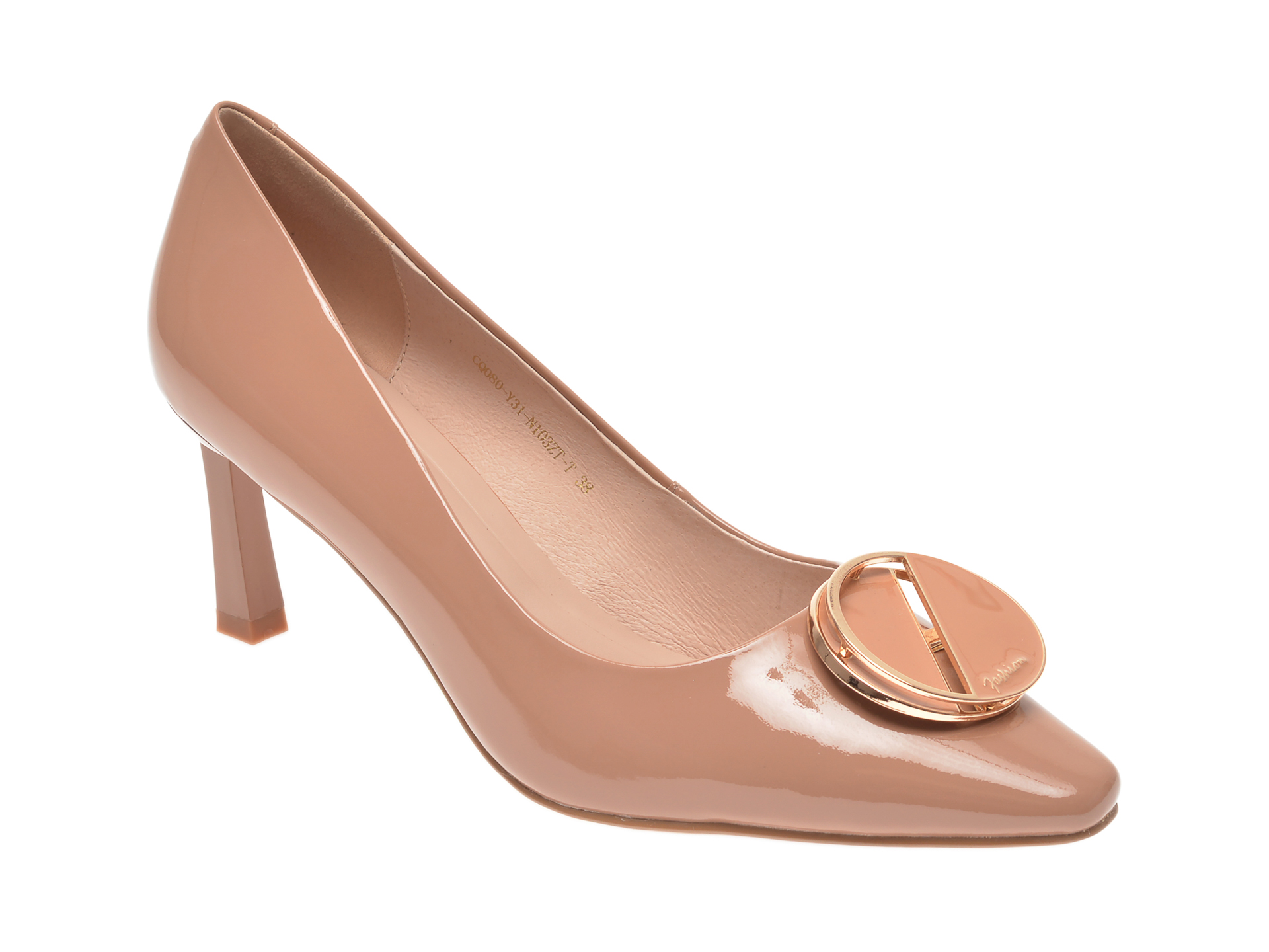 Pantofi EPICA bej, CQ080Y3, din piele naturala lacuita