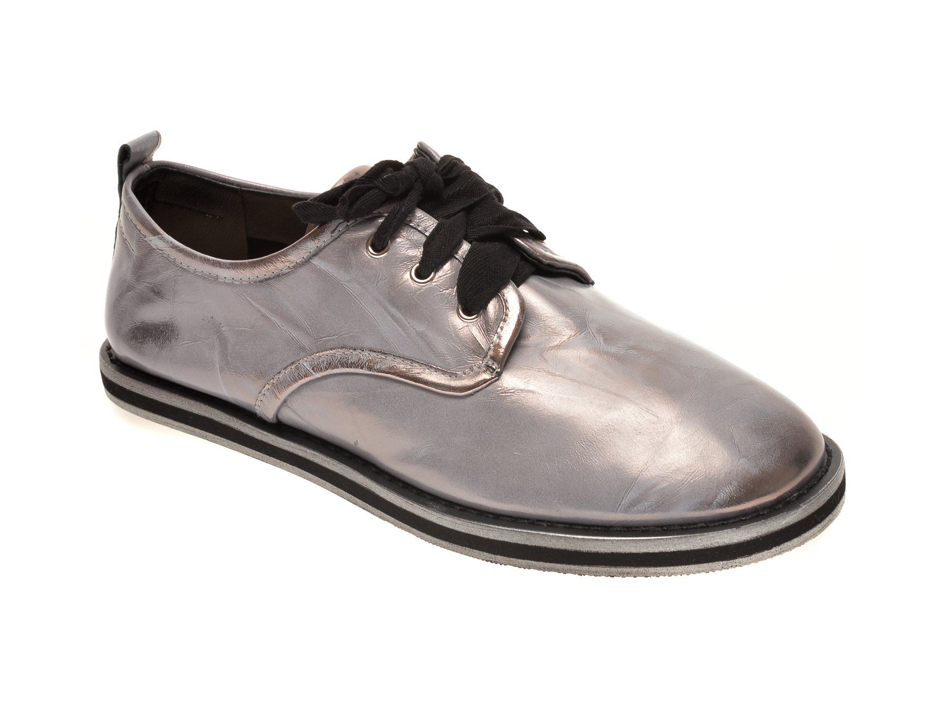 Pantofi Epica Gri, Ah025m1, Din Piele Naturala