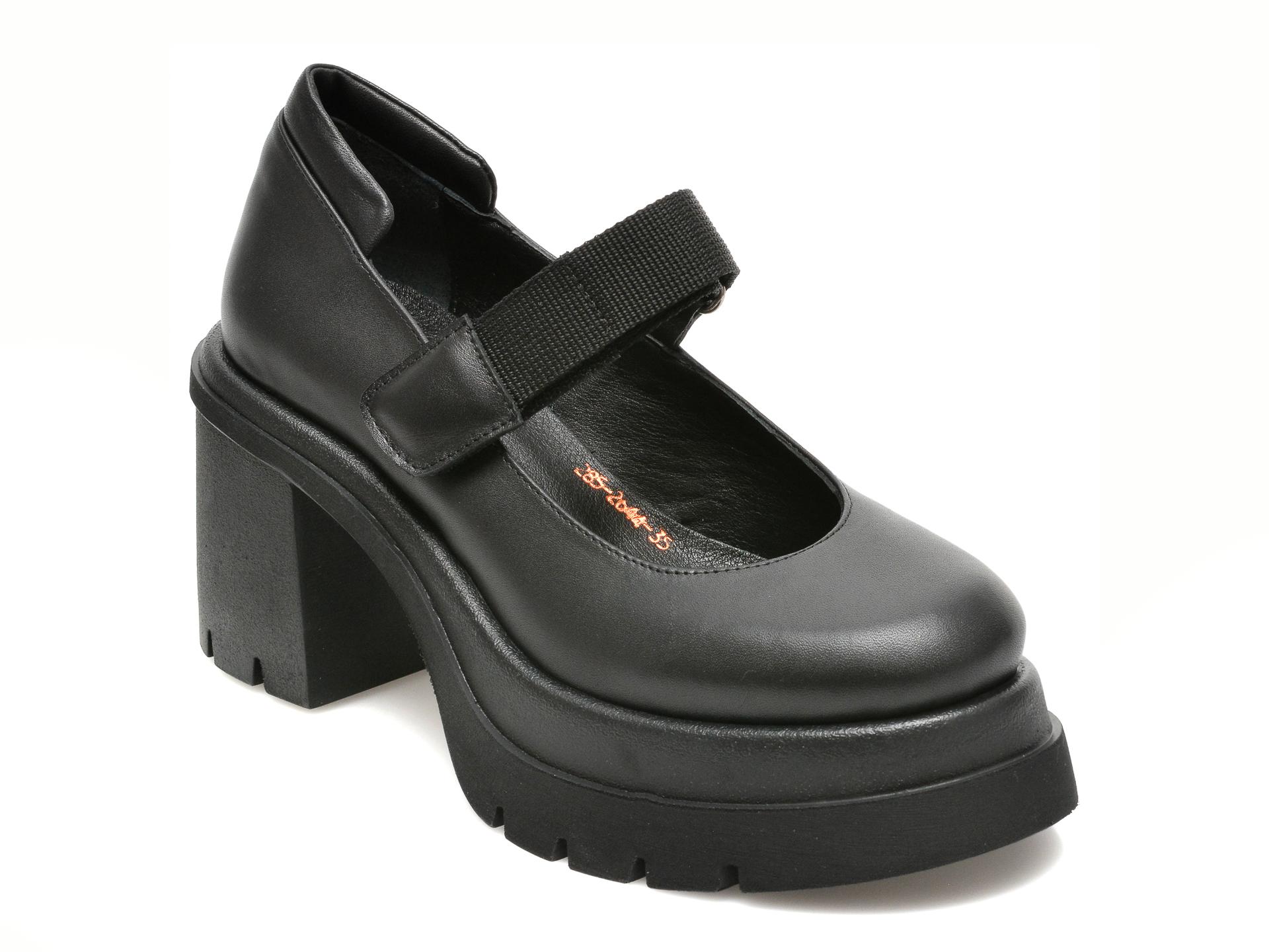 Pantofi Epica Negri, 2852644, Din Piele Naturala