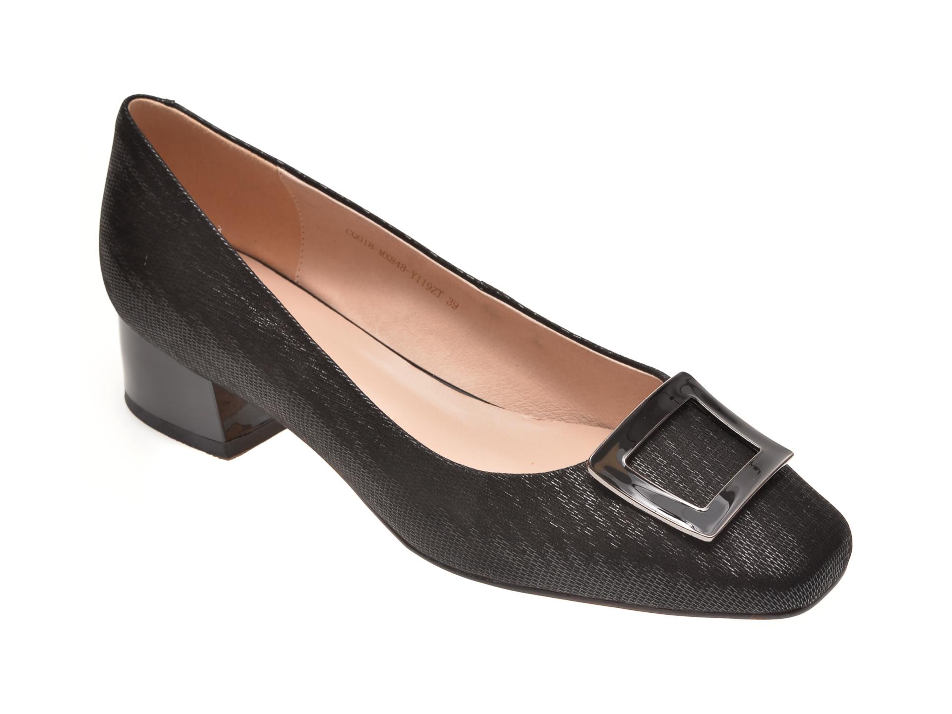 Pantofi EPICA negri, MX848, din piele naturala