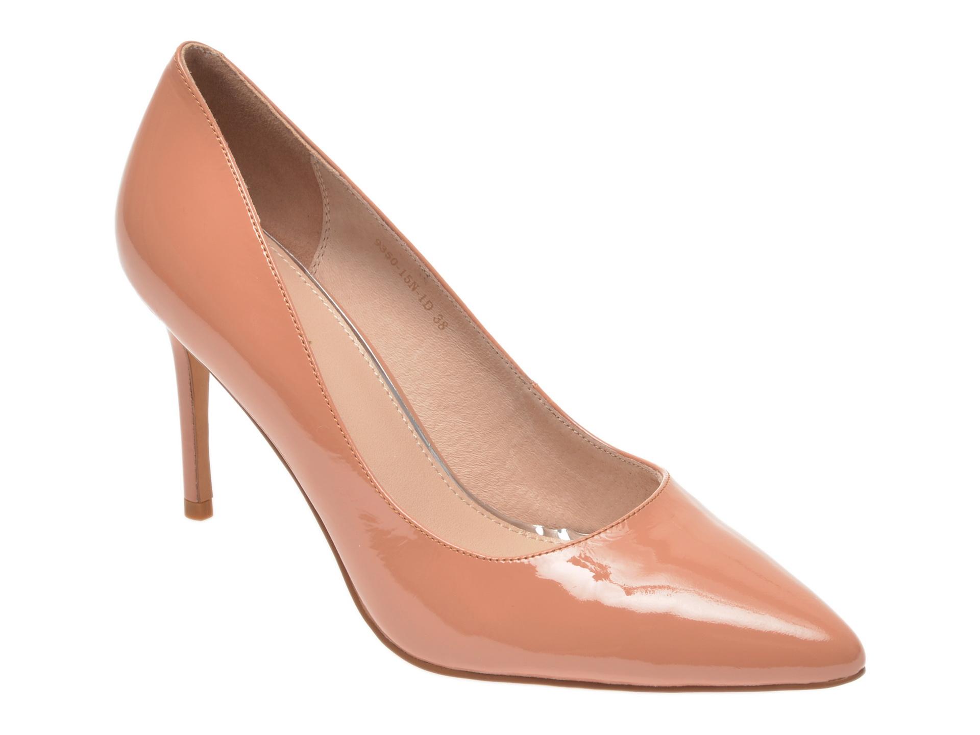 Pantofi Epica Nude, 935015, Din Piele Naturala Lacuita