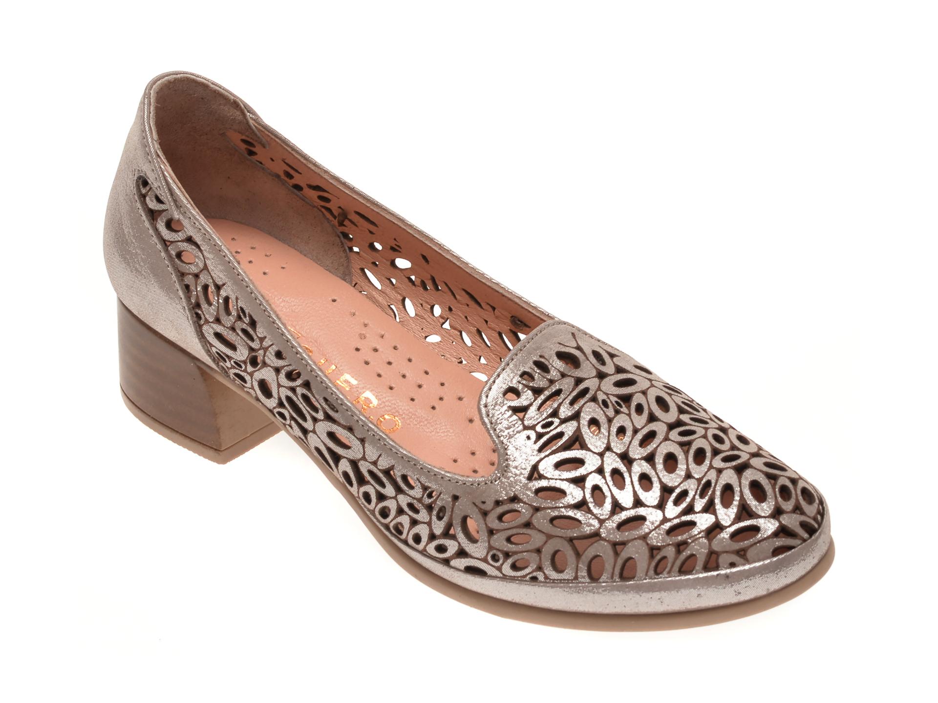 Pantofi FLAVIA PASSINI argintii, 084151, din piele naturala imagine