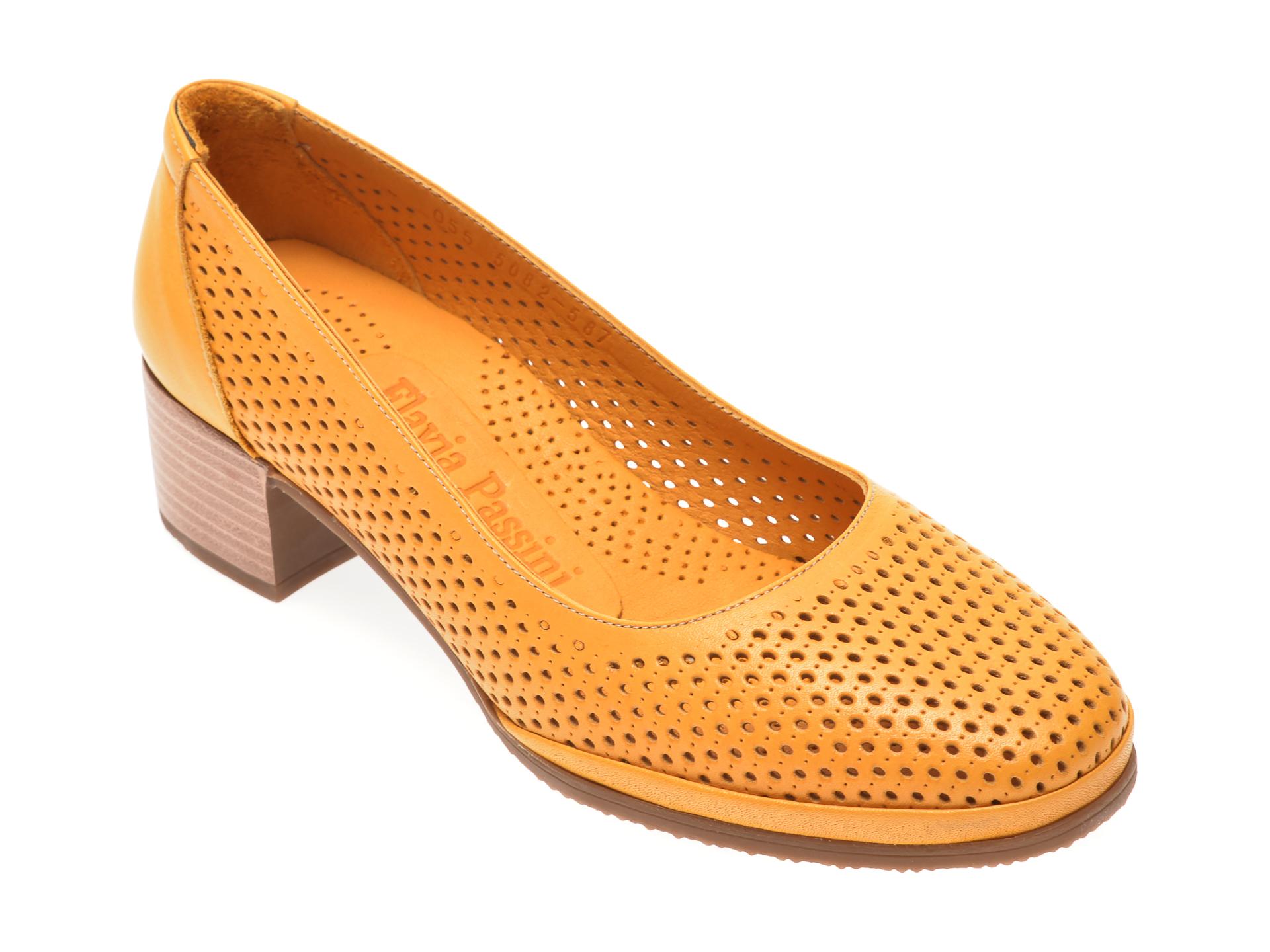 Pantofi FLAVIA PASSINI galbeni, 0105082, din piele naturala imagine