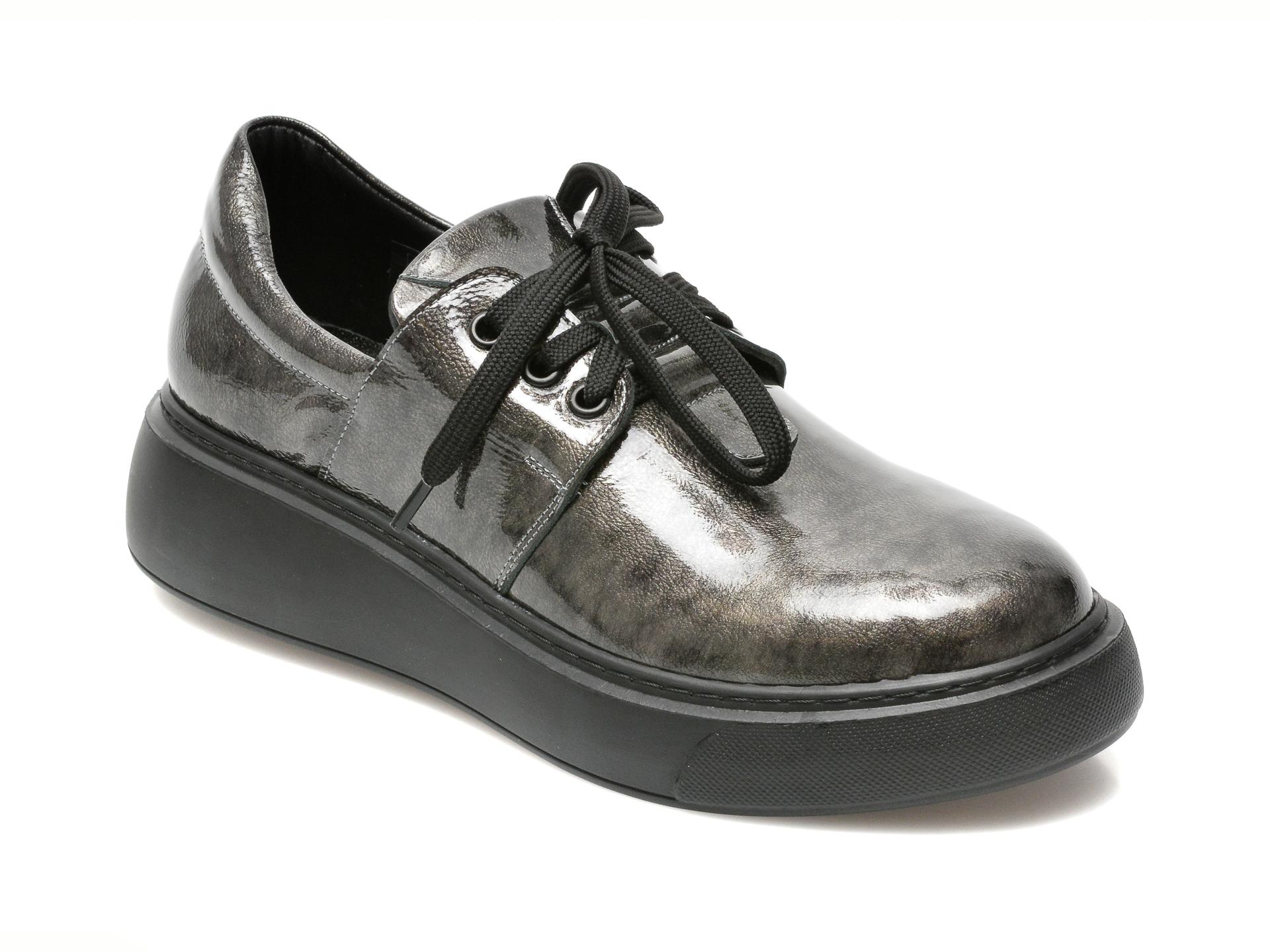 Pantofi Flavia Passini Gri, 15406, Din Piele Naturala Lacuita