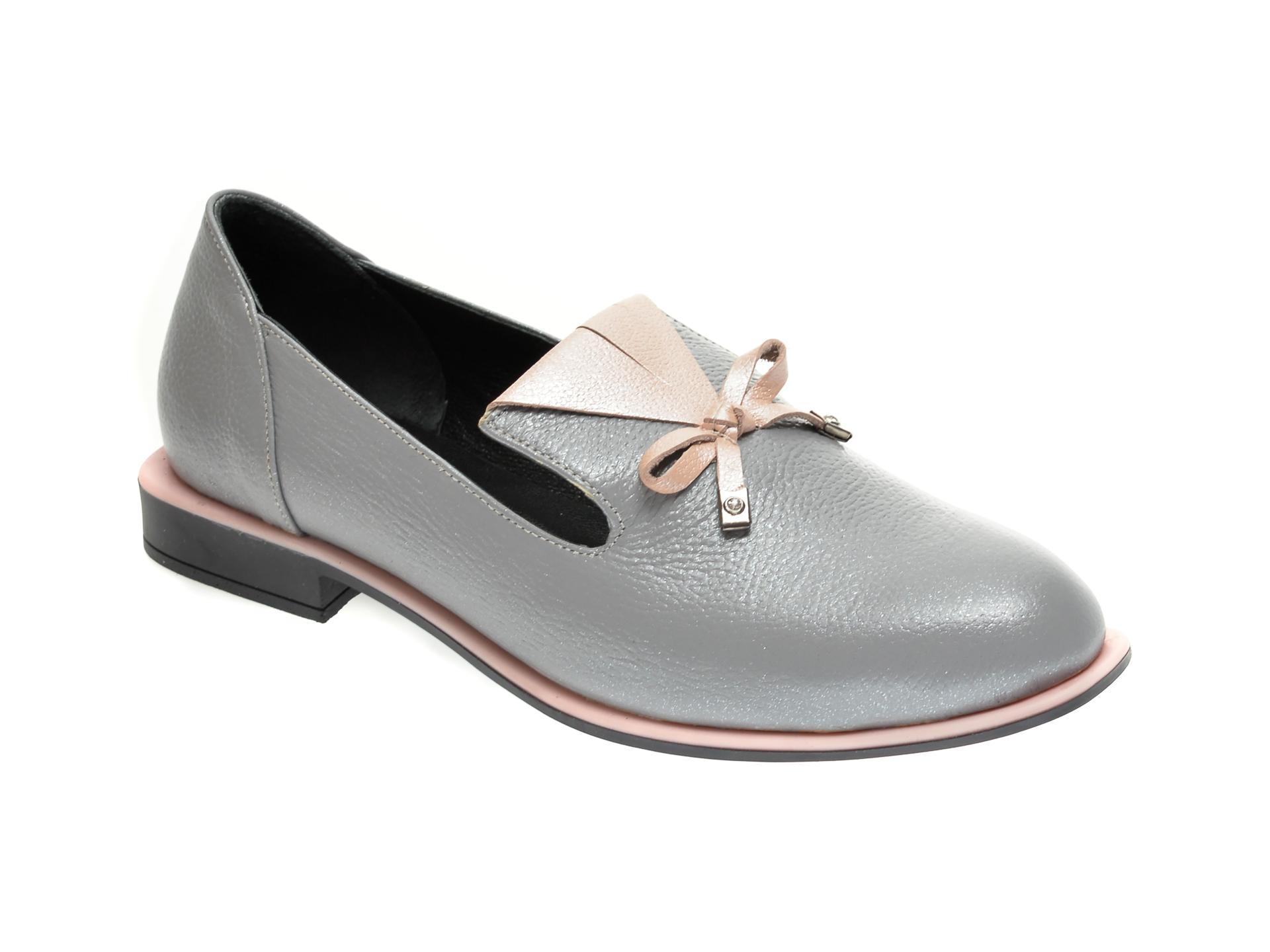 Pantofi Flavia Passini Gri, 372029, Din Piele Naturala