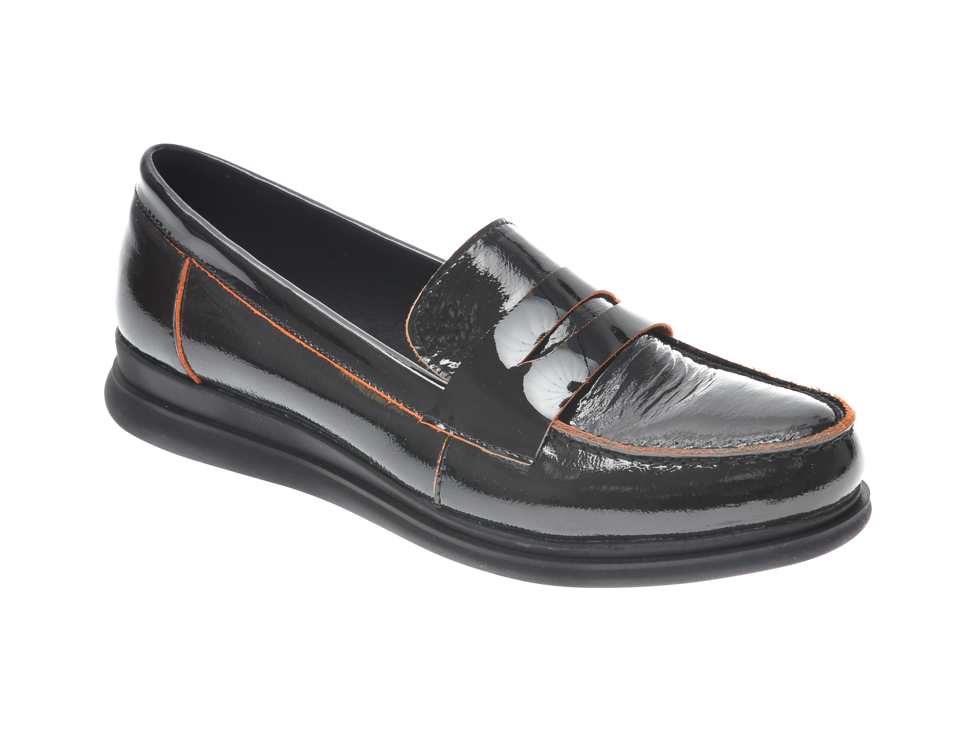 Pantofi Flavia Passini Negri, 1307202, Din Piele Naturala Lacuita