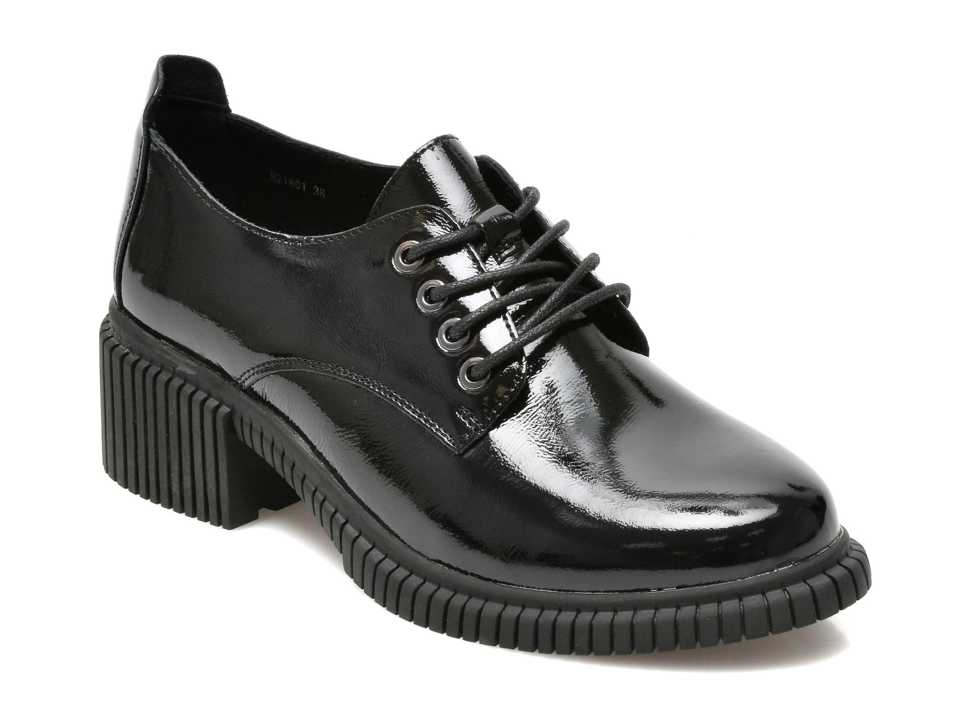 Pantofi Flavia Passini Negri, B21601, Din Piele Naturala Lacuita