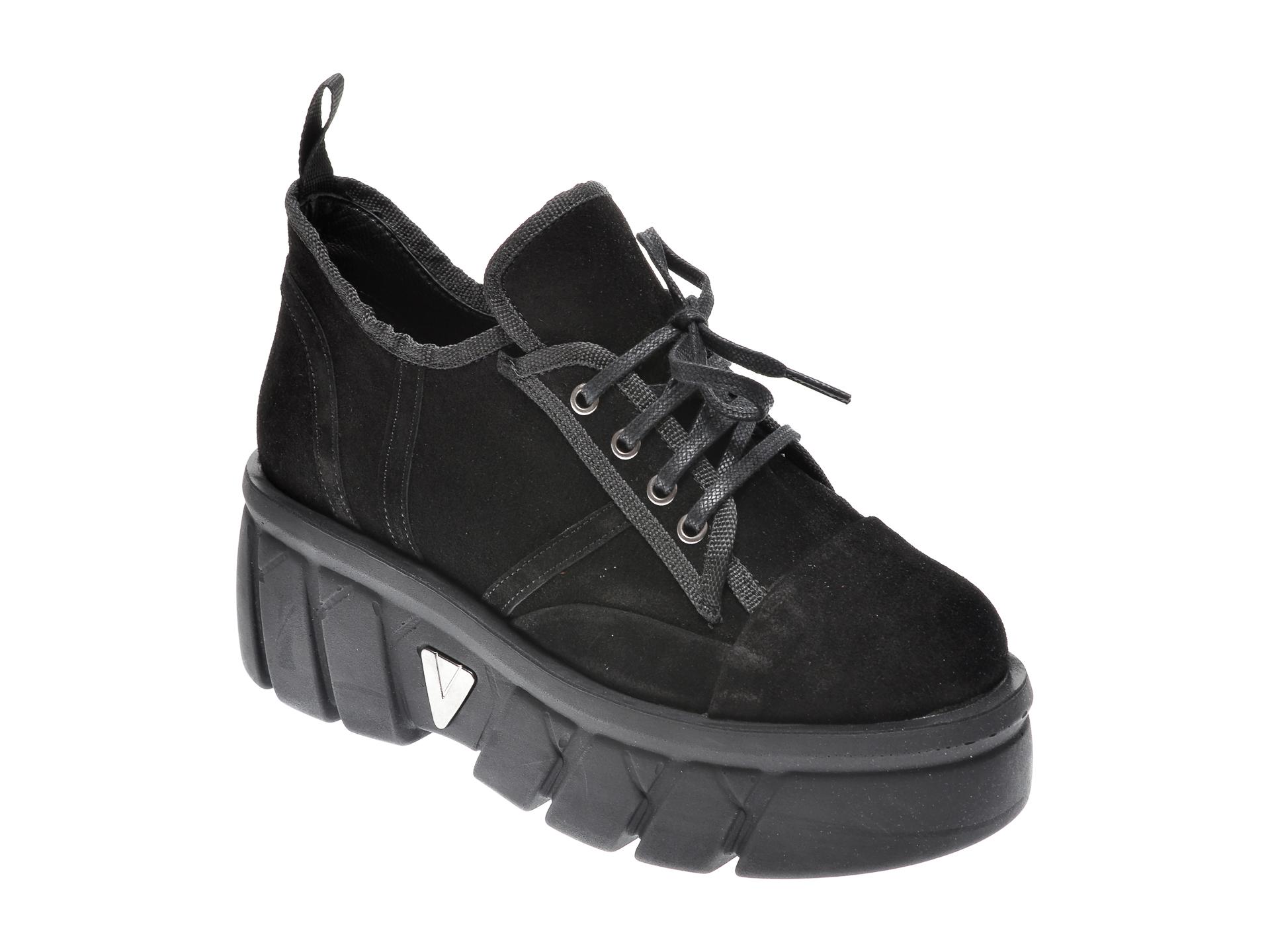 Pantofi Flavia Passini Negri, Z8552, Din Piele Intoarsa