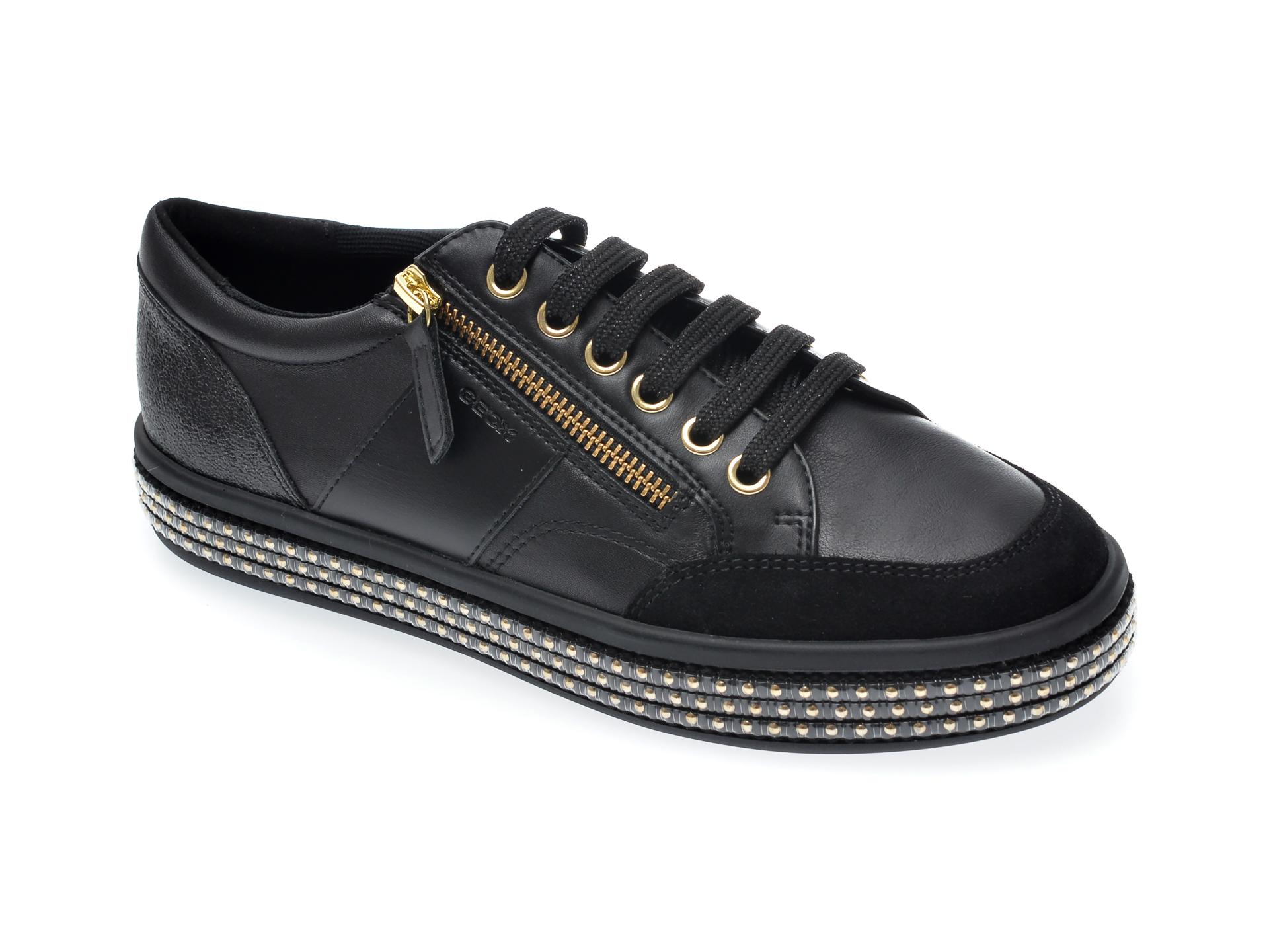 Pantofi sport GEOX negri, D94AQA, din piele intoarsa