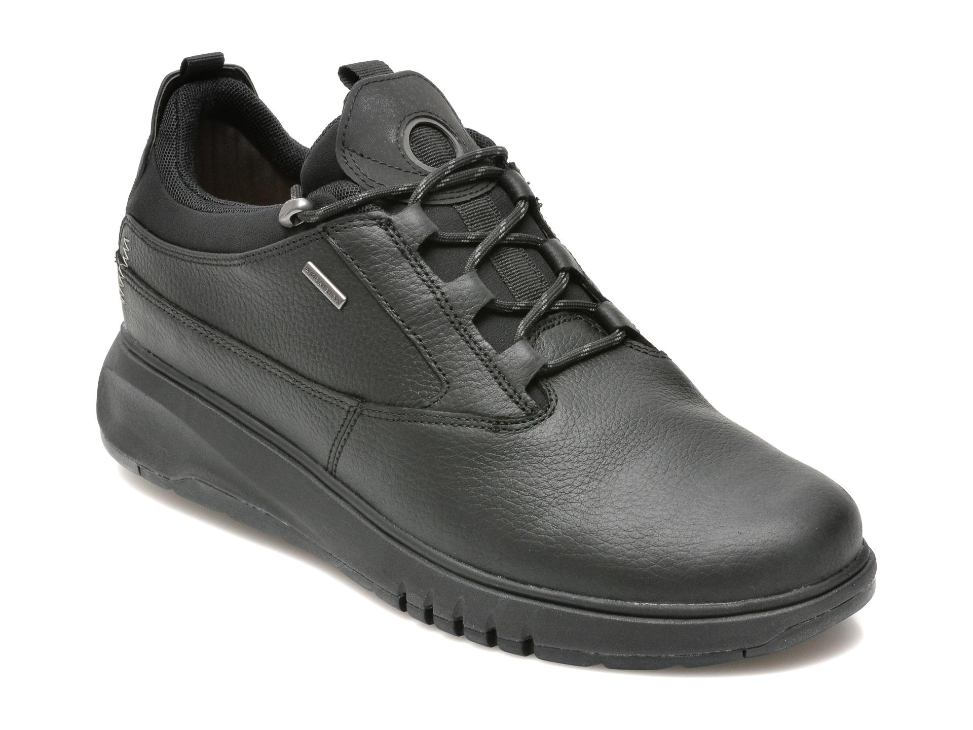 Pantofi Geox Negri, U16apa, Din Material Textil Si Piele Naturala