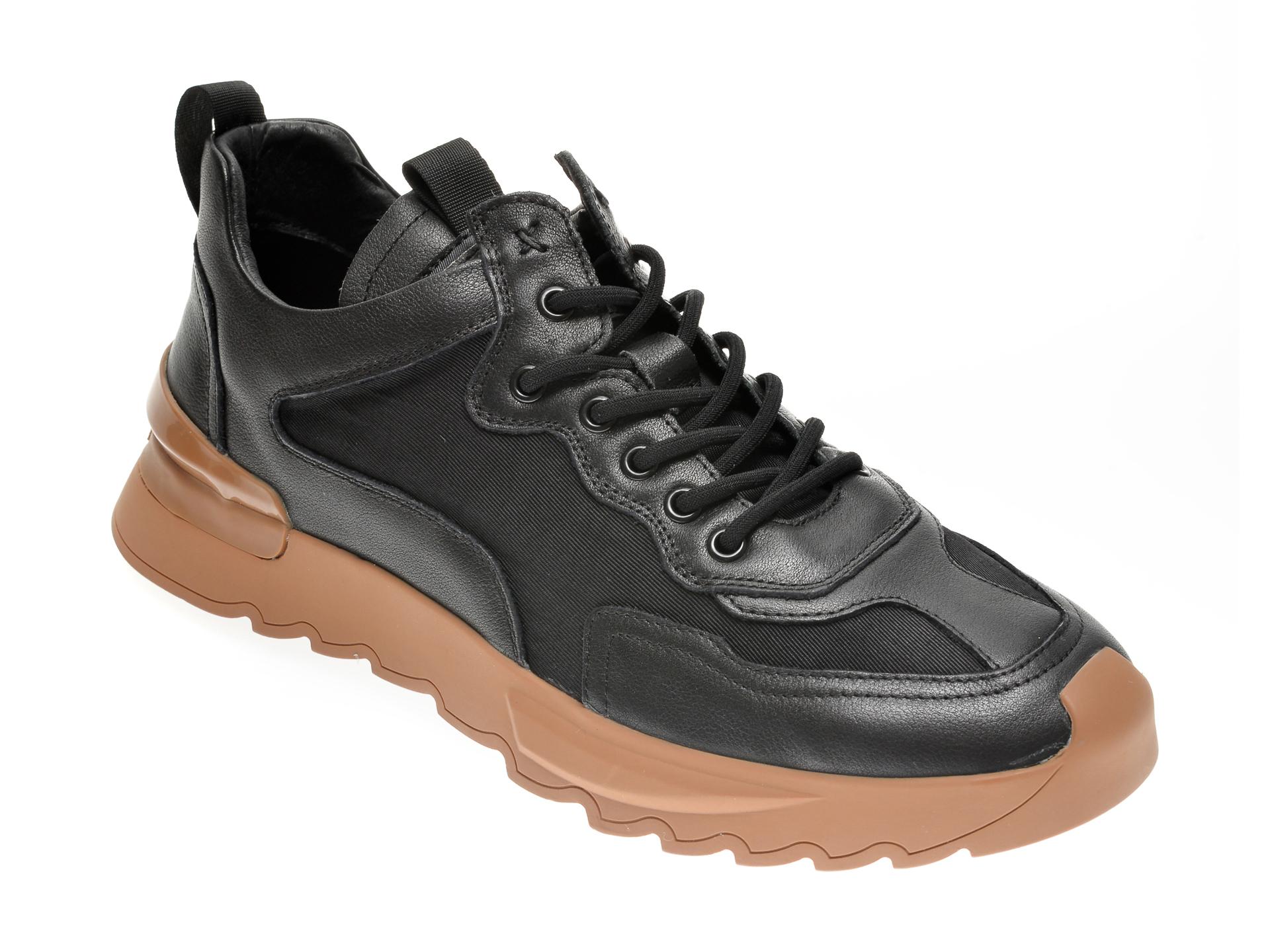Pantofi GRYXX negri, 20352, din material textil si piele naturala imagine