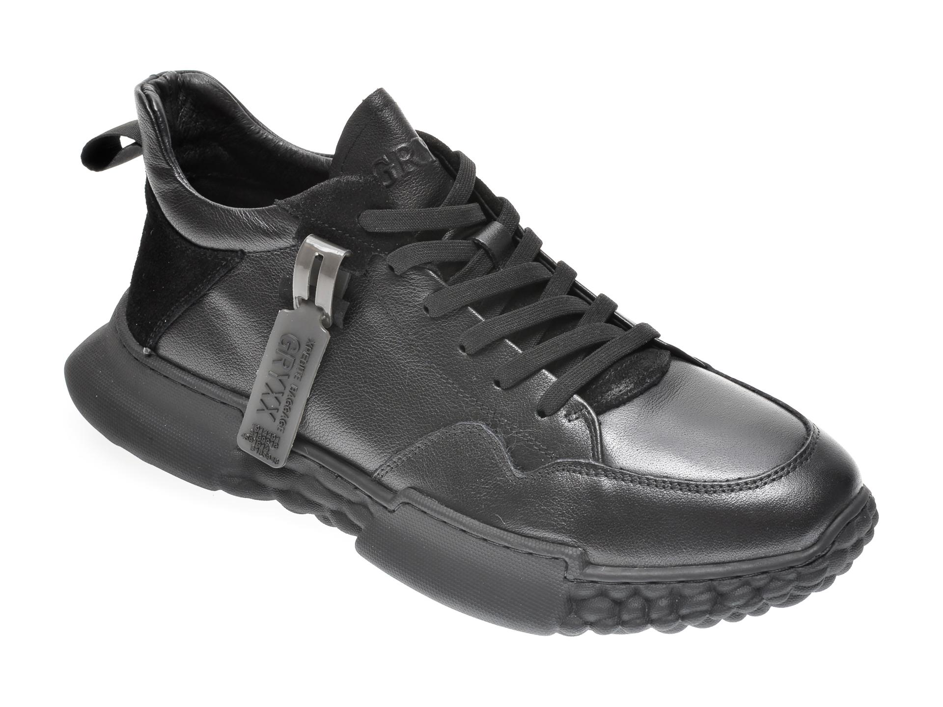 Pantofi GRYXX negri, 9522, din piele naturala imagine