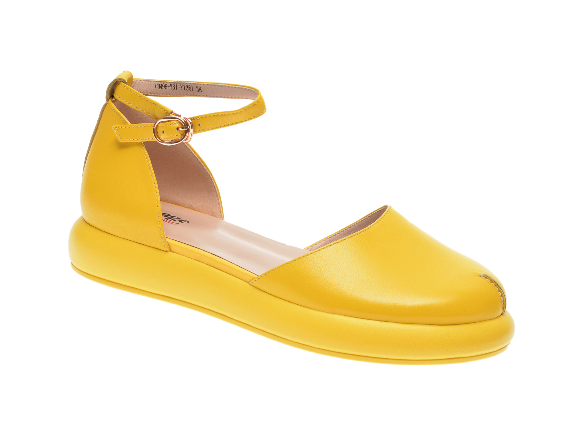 Pantofi IMAGE galbeni, CD496Y3, din piele naturala