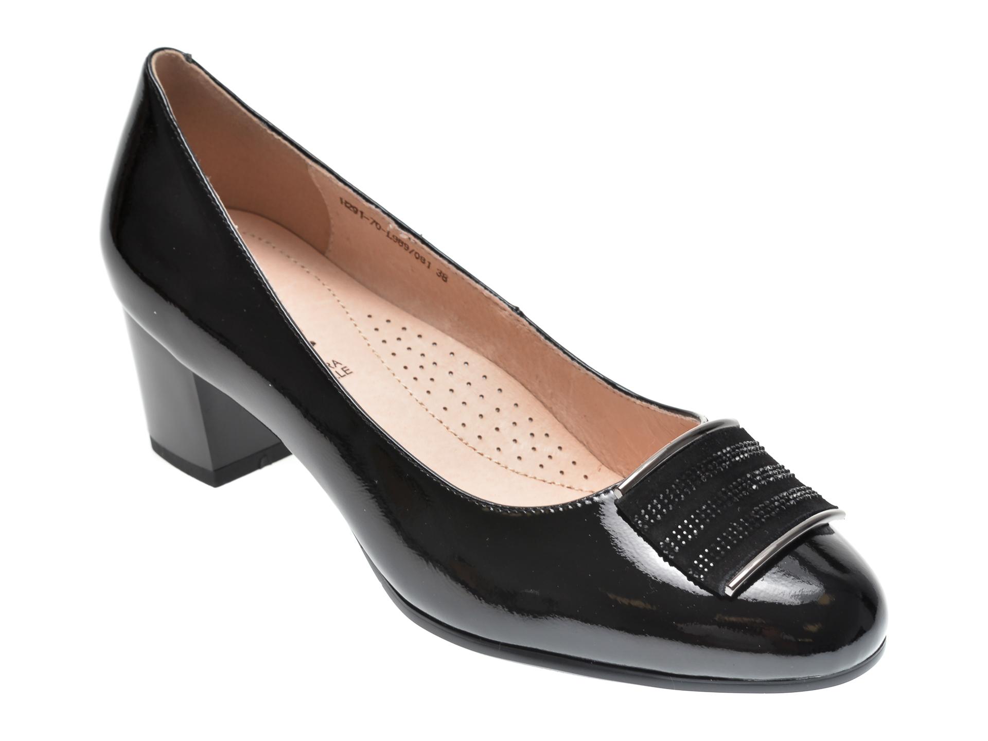 Pantofi Karisma Negri, H29170, Din Piele Naturala Lacuita