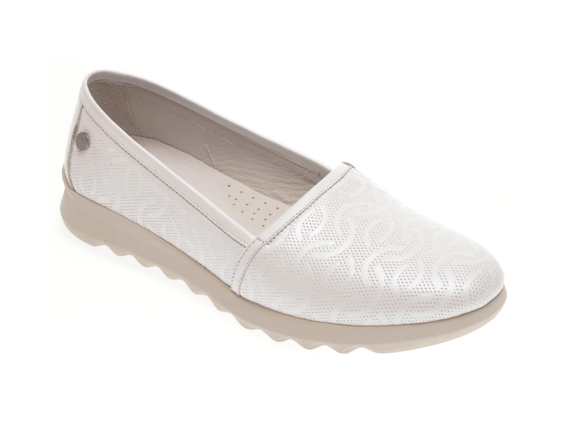 Pantofi LE BERDE albi, 146FERM, din piele naturala imagine