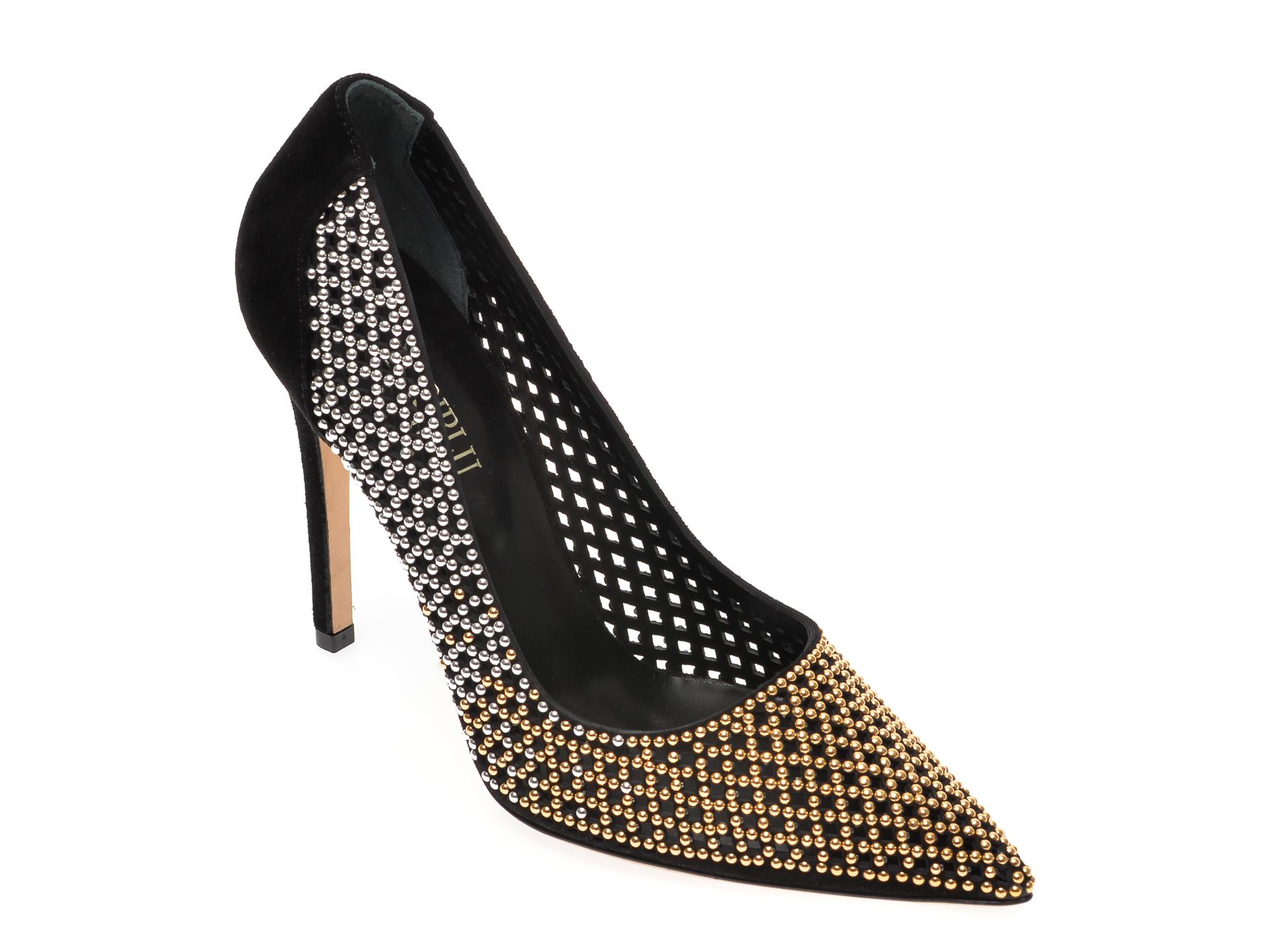 Pantofi Loriblu Negri, 1052, Din Piele Intoarsa