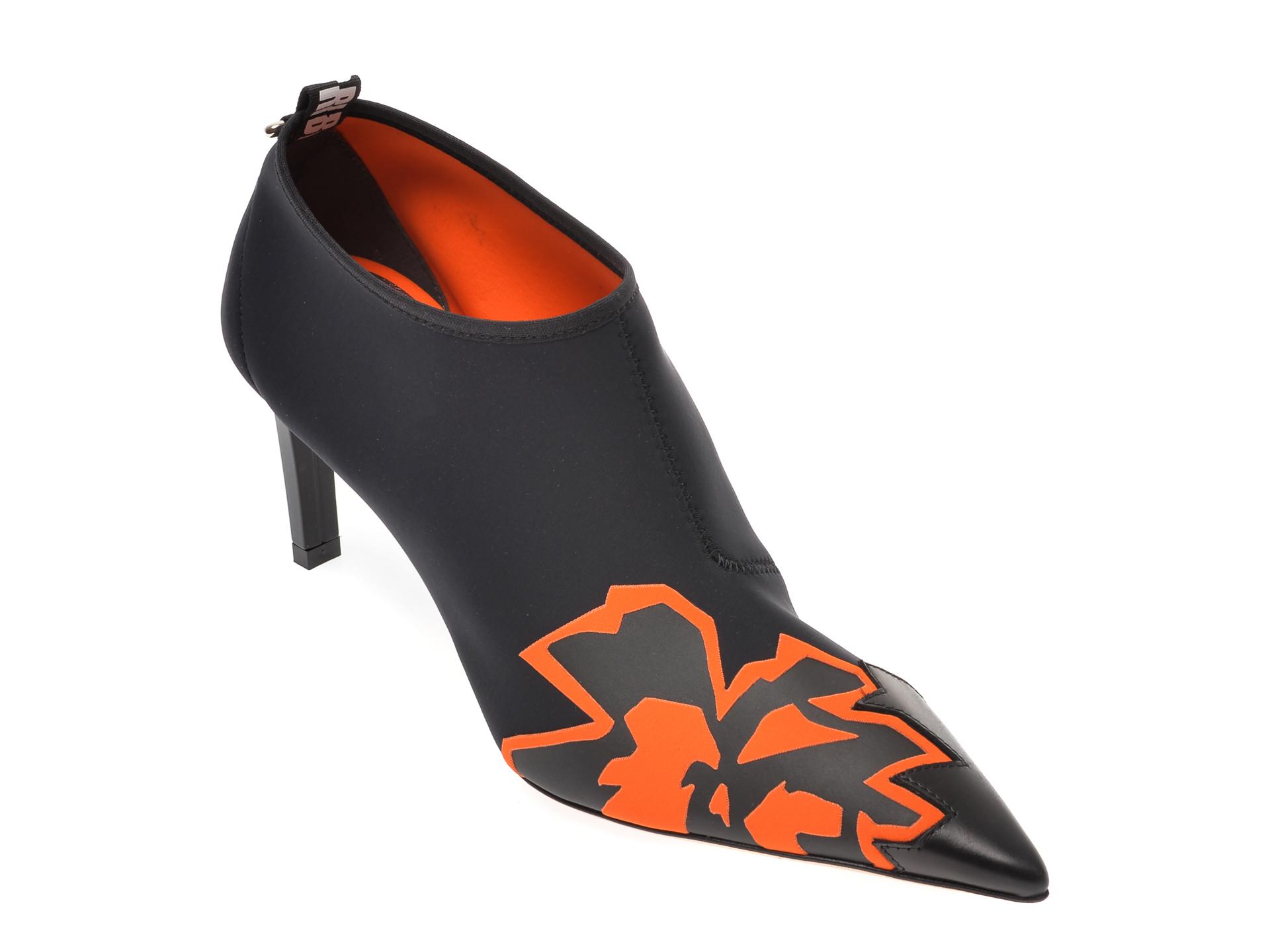 Pantofi LORIBLU negri, 7608, din material textil si piele naturala imagine